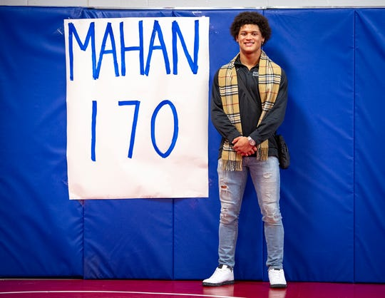Elijah Mahan, competing at the 170-pound weight class, is among this year's favorites for a title. Five Roncalli High School wrestlers received a send-off from their teammates, friends and family Wednesday, Feb. 13, 2019 as they prepare to compete in the 2019 IHSAA Wrestling State Finals this weekend at Bankers Life Fieldhouse.