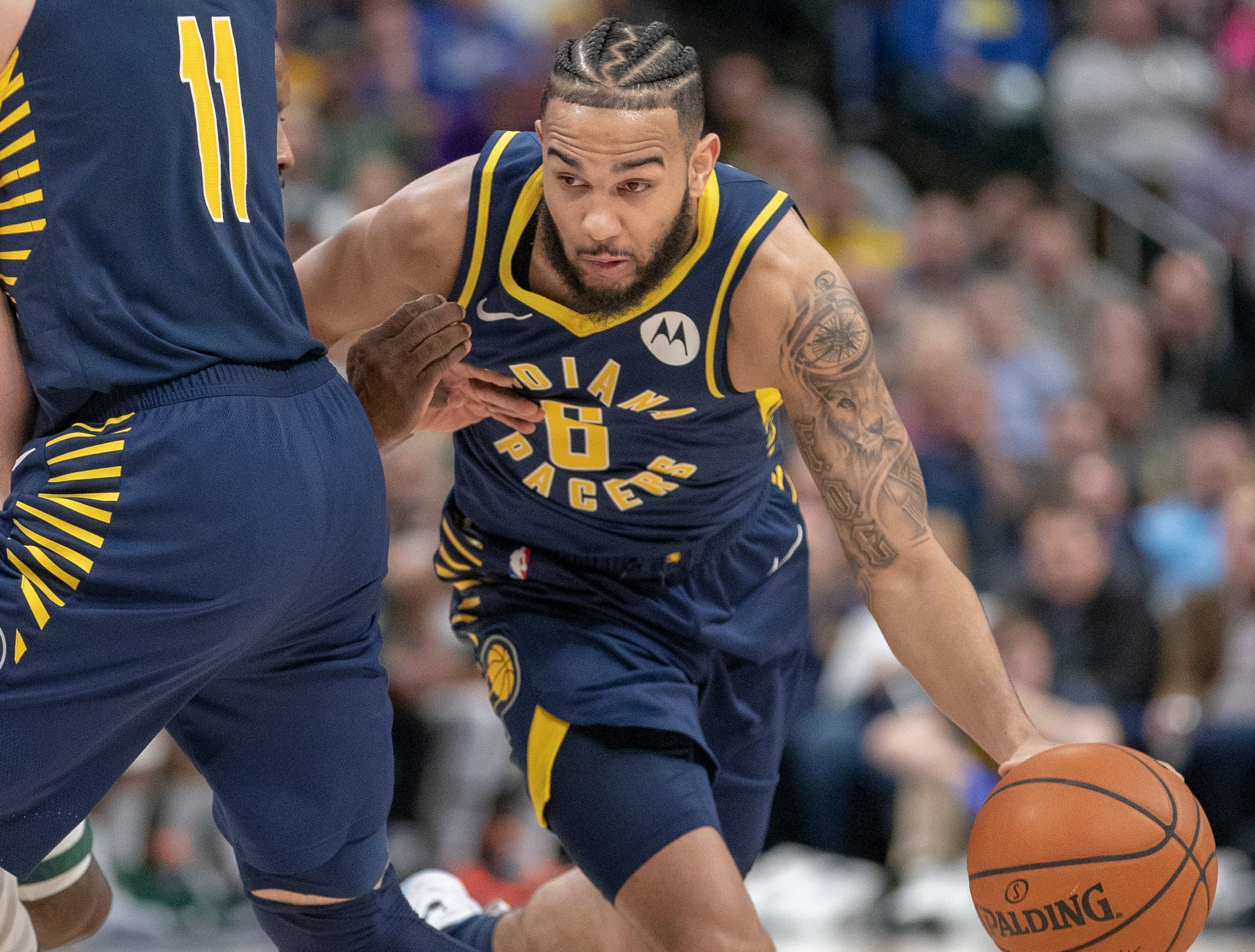 Cory Joseph of the Indiana Pacers works off a screen during action against Milwaukee, Bankers Life Fieldhouse, Indianapolis, Wednesday, Feb. 13, 2019. Milwaukee won 106-97.