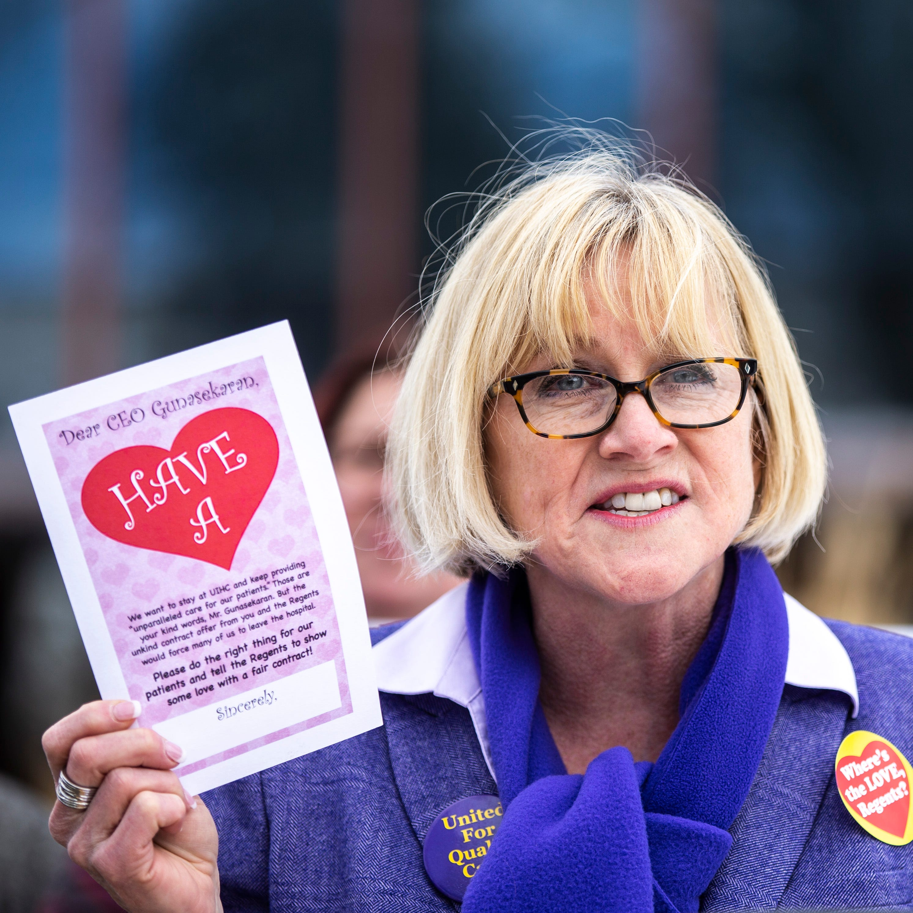 """A Valentine's Day message from University of Iowa nurses to their employer: """"Have a heart"""""""