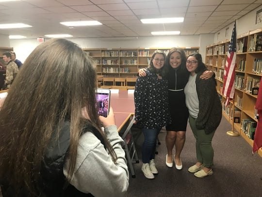 Penny Schwinn, Education Commissioner for the State of Tennessee, stops for a picture with a couple of students at West Carroll.