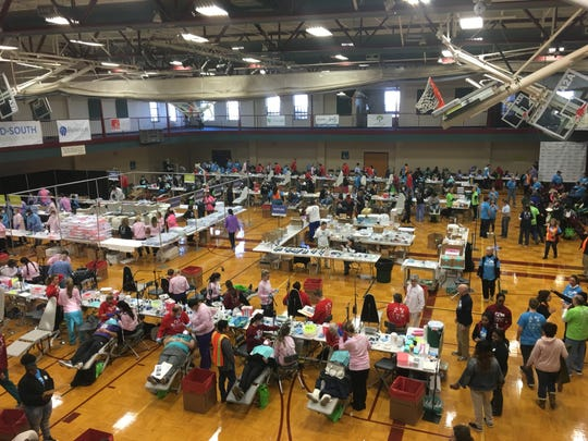 This gym was full of dental chairs and people needing them during a dental health fair in Memphis in 2018.