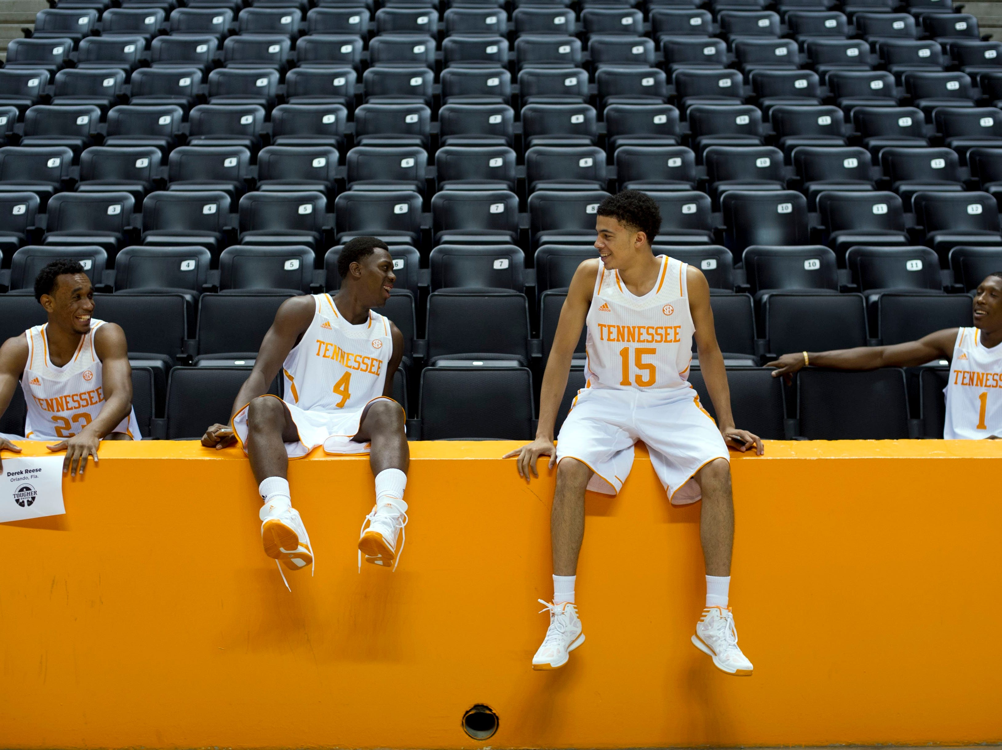 From left, Tennessee players Derek Reese, Armani Moore, Darius Thompson, and Josh Richardson wait to give interviews during Tennessee Basketball Media Day at Thompson-Boling Arena on Monday, October 7, 2013.