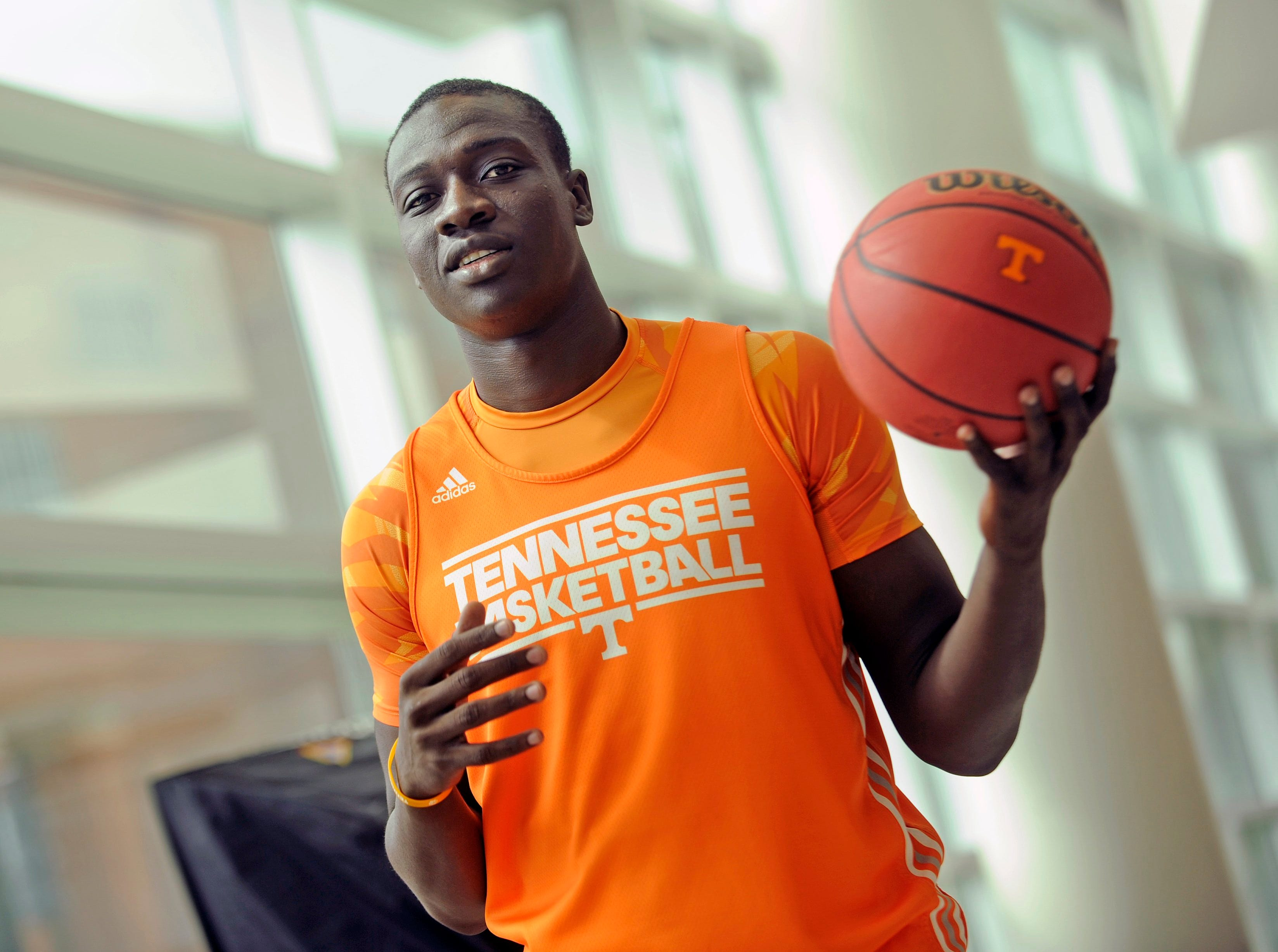 Basketball player Rawane Ndiaye poses for a portrait at University of Tennessee's Pratt Pavillion in Knoxville on Wednesday, Oct. 2, 2013.