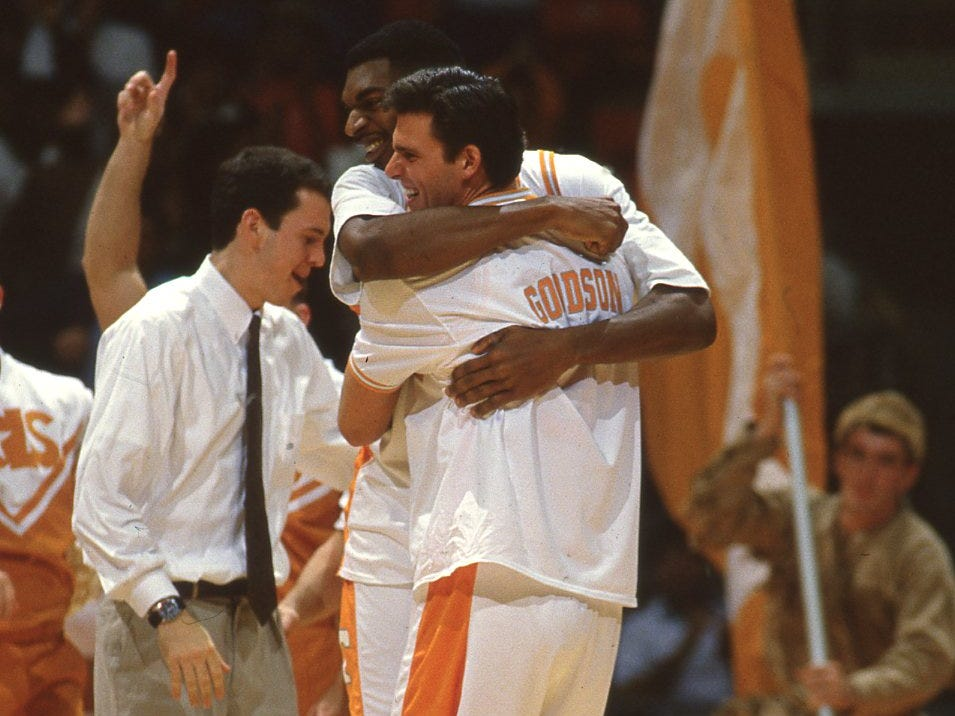 Tennessee's Steve Hamer and Gannon Goodson celebrate the Vols' third victory of the seasons, a 92-85 win over Auburn in January 1994.
