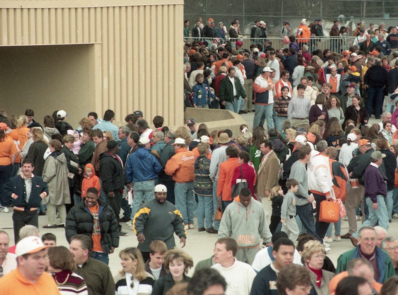 Tennessee basketball fans outside of Thompson-Boling Arena in February 1998.