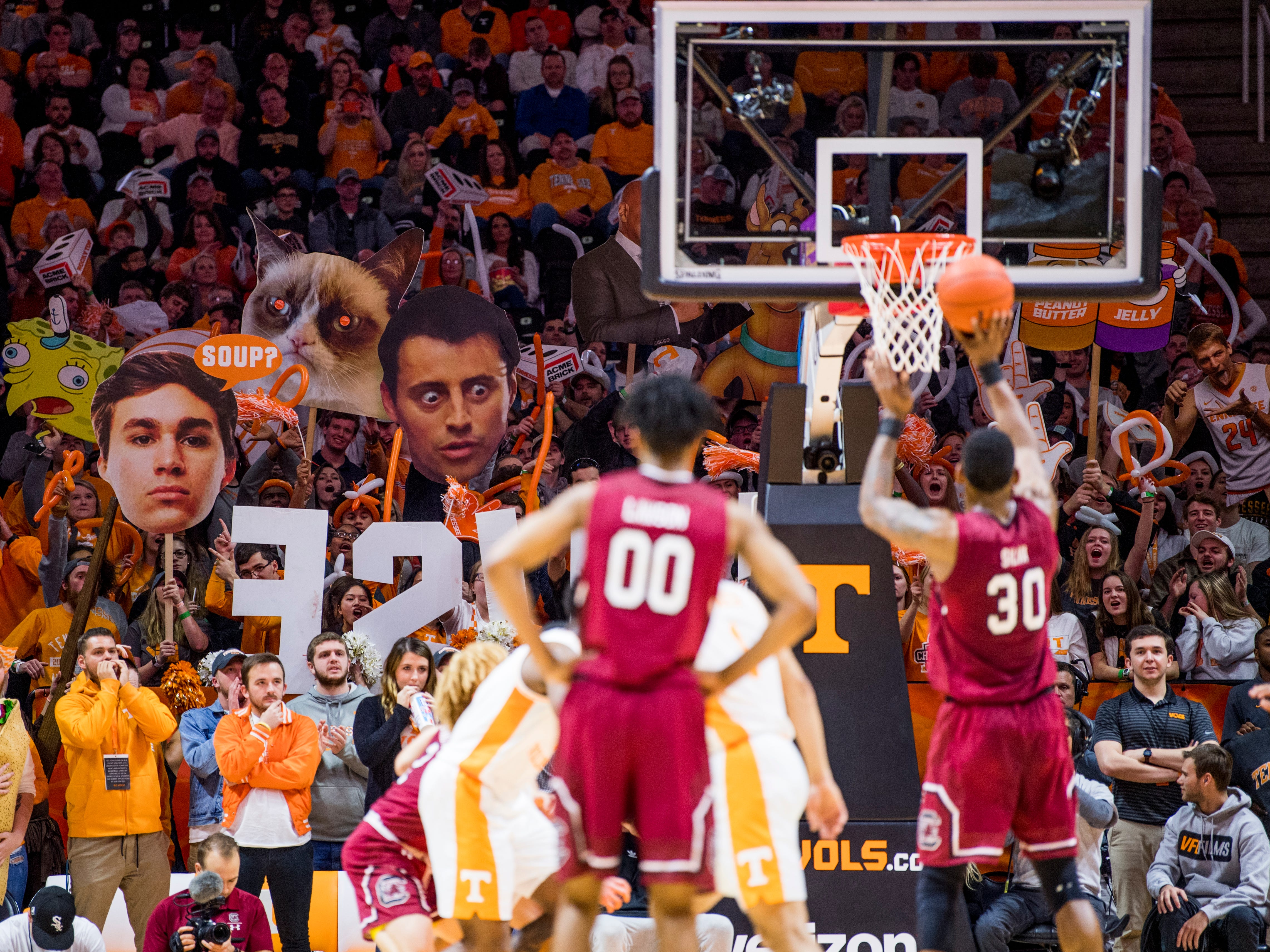 The Tennessee student section tries to distract South Carolina forward Chris Silva (30) as he shoots a free throw during Tennessee's home SEC game against South Carolina at Thompson-Boling Arena in Knoxville on Wednesday, February 13, 2019.