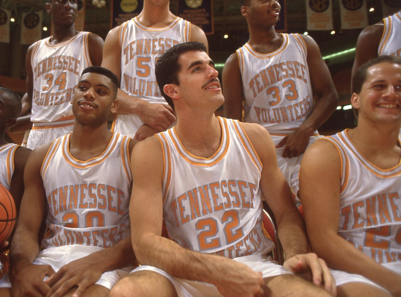 Laughing it up while the official photographer tries to make a team photo at Vols Media Day in October 1991.