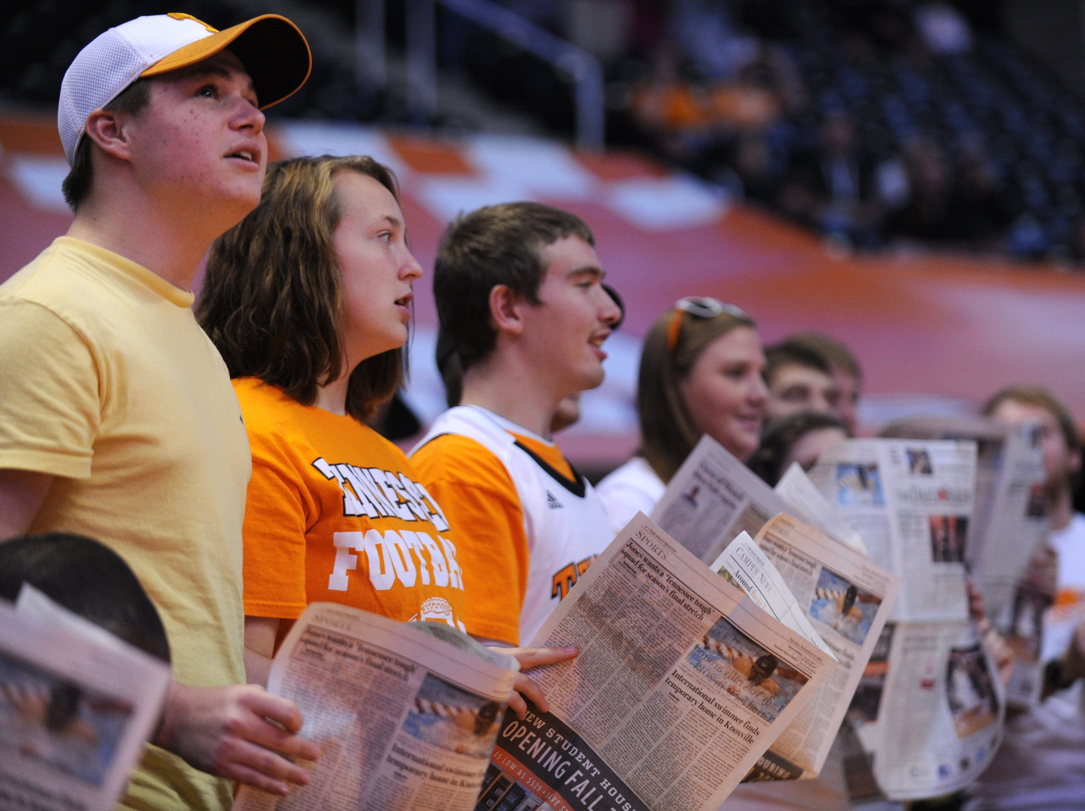 Tennessee fans ignore the roster as line-ups are called for USC Upstate during the first half at Thompson-Boling Arena in Knoxville, Saturday, Nov. 16, 2013.