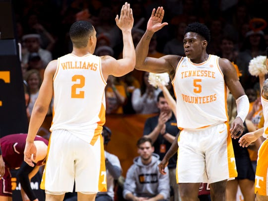 Tennessee forward Grant Williams (2) high fives Tennessee guard Admiral Schofield (5) during Tennessee's home SEC game against South Carolina at Thompson-Boling Arena in Knoxville on Wednesday, February 13, 2019.