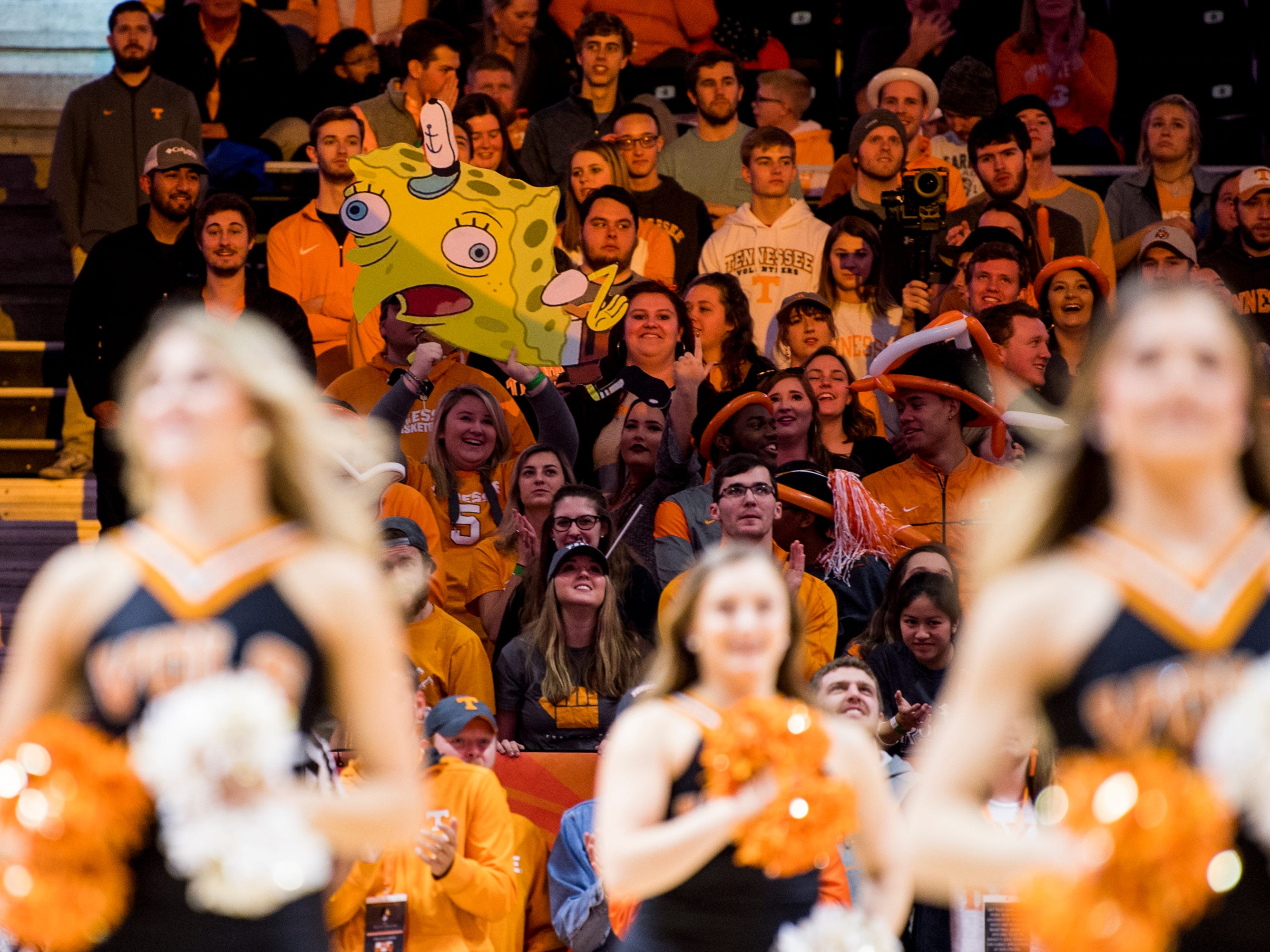 Students hold up signs during Tennessee's home SEC game against South Carolina at Thompson-Boling Arena in Knoxville on Wednesday, February 13, 2019.