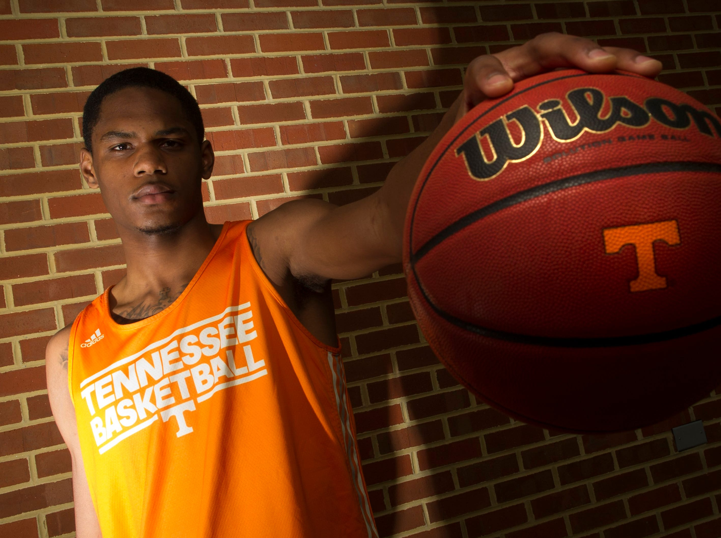 Freshman basketball player A. J. Davis poses for a portrait at University of Tennessee's Pratt Pavillion in Knoxville on Thursday, Oct. 24, 2013.