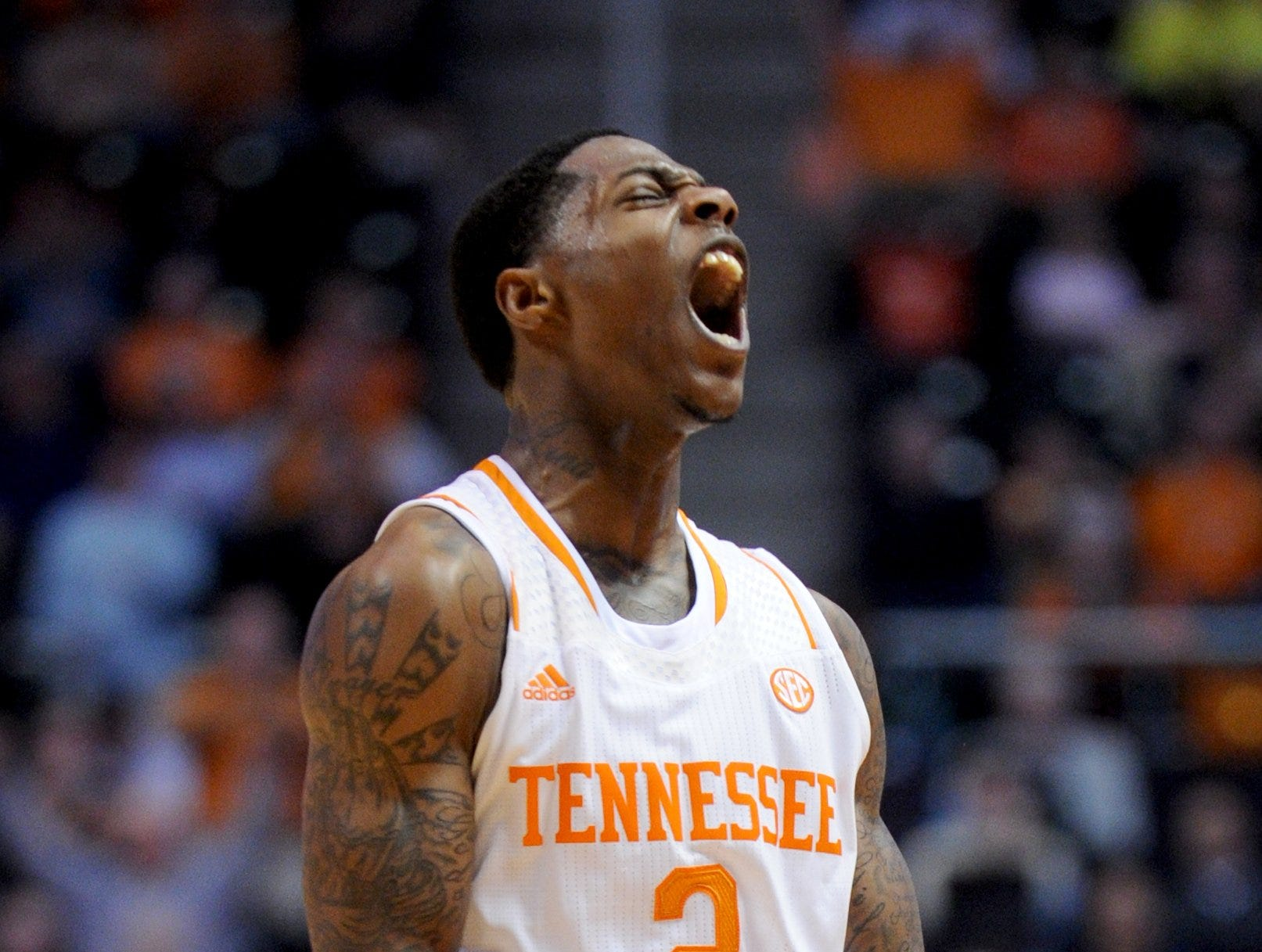 Tennessee's Antonio Barton reacts after hitting a basket to help UT gain the lead over USC Upstate during the second half at Thompson-Boling Arena in Knoxville, Saturday, Nov. 16, 2013. UT won the game, 74-65.