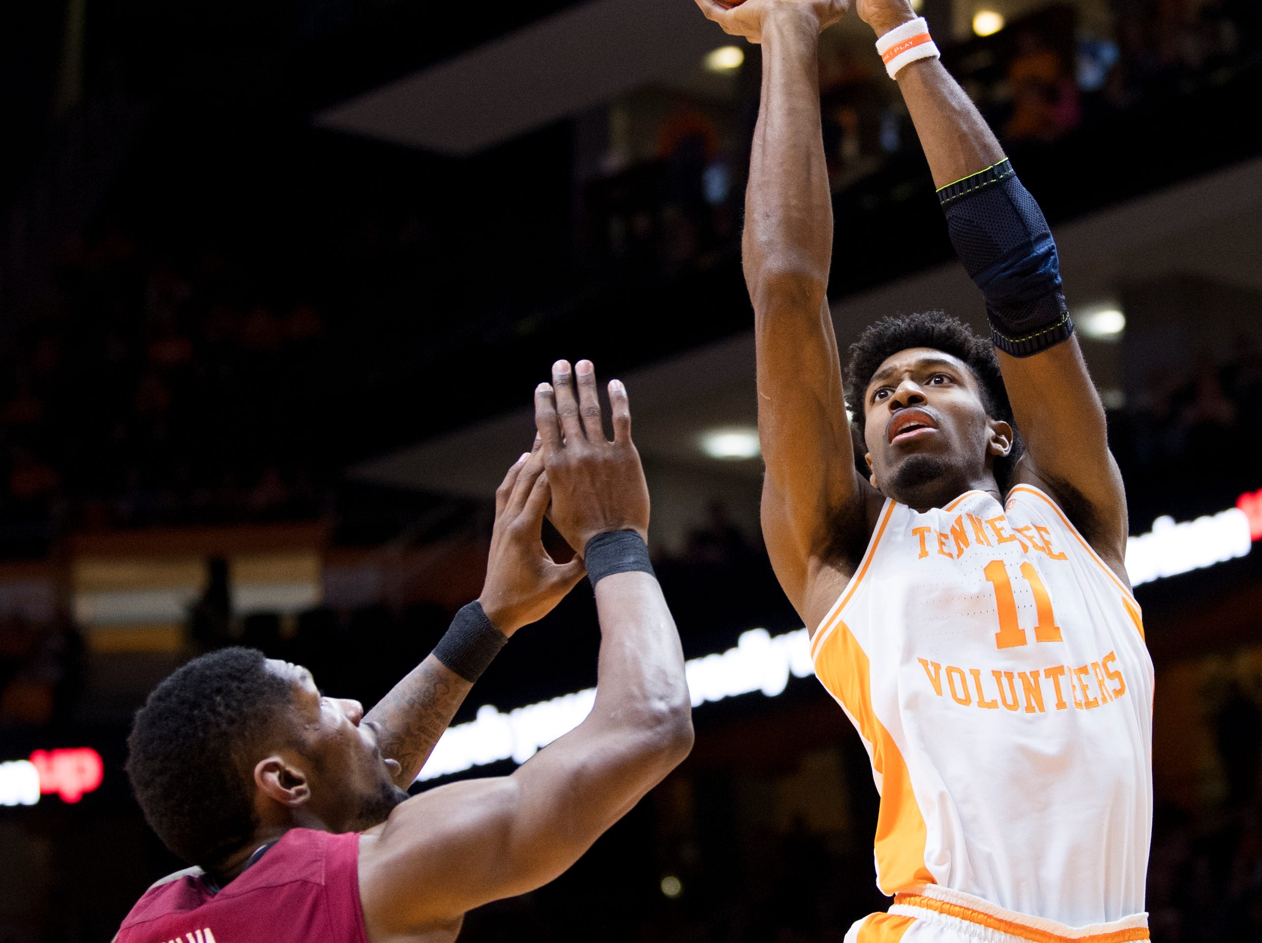 Tennessee forward Kyle Alexander (11) attempts a shot during Tennessee's home SEC game against South Carolina at Thompson-Boling Arena in Knoxville on Wednesday, February 13, 2019.