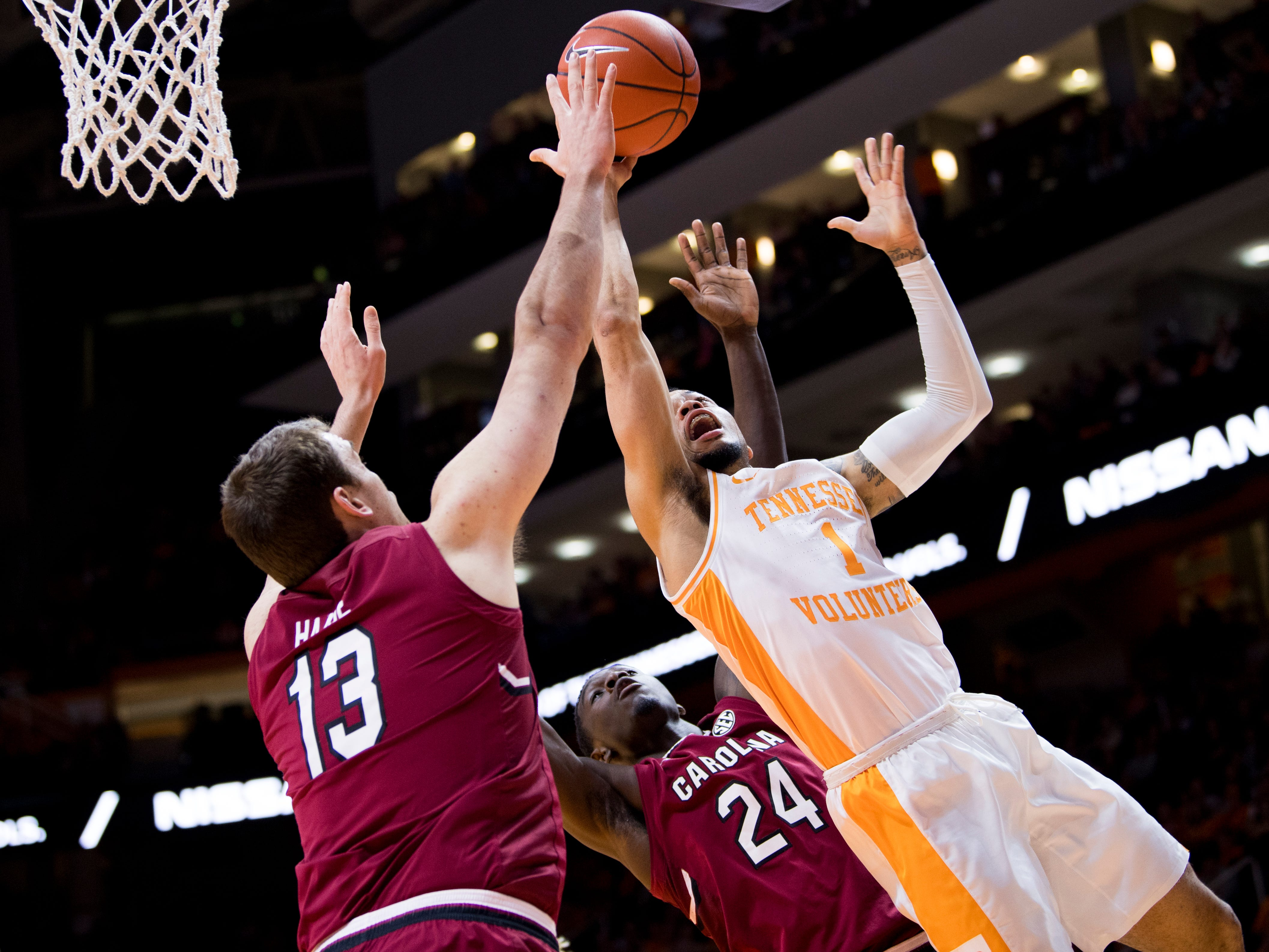 Tennessee guard Lamonte Turner (1) attempts a shot during Tennessee's home SEC game against South Carolina at Thompson-Boling Arena in Knoxville on Wednesday, February 13, 2019.