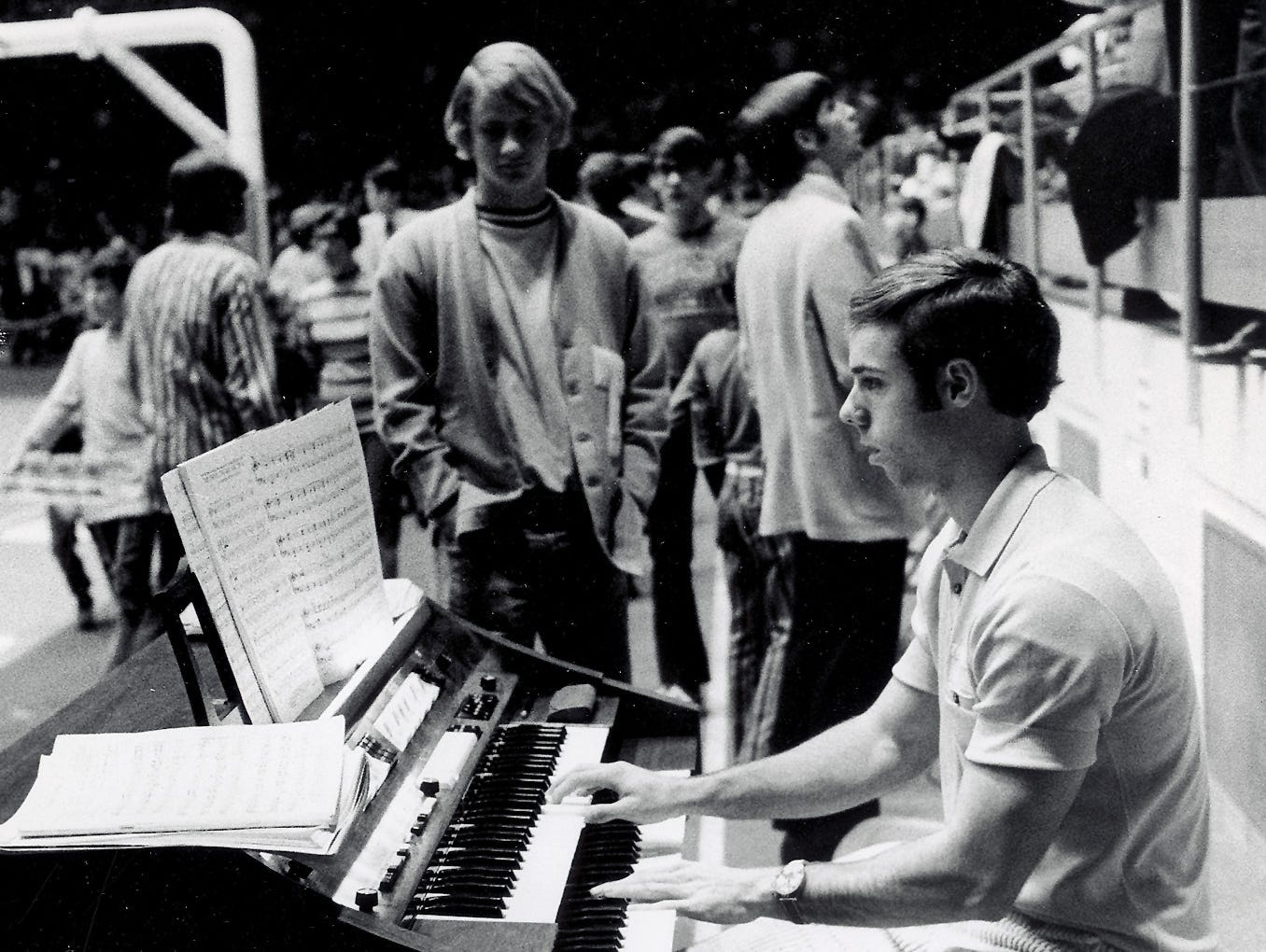 Vol swimmer John Trembley plays the organ before the Tennessee - California Irvine basketball game Dec. 1, 1971 at Stokely Athletic Center.
