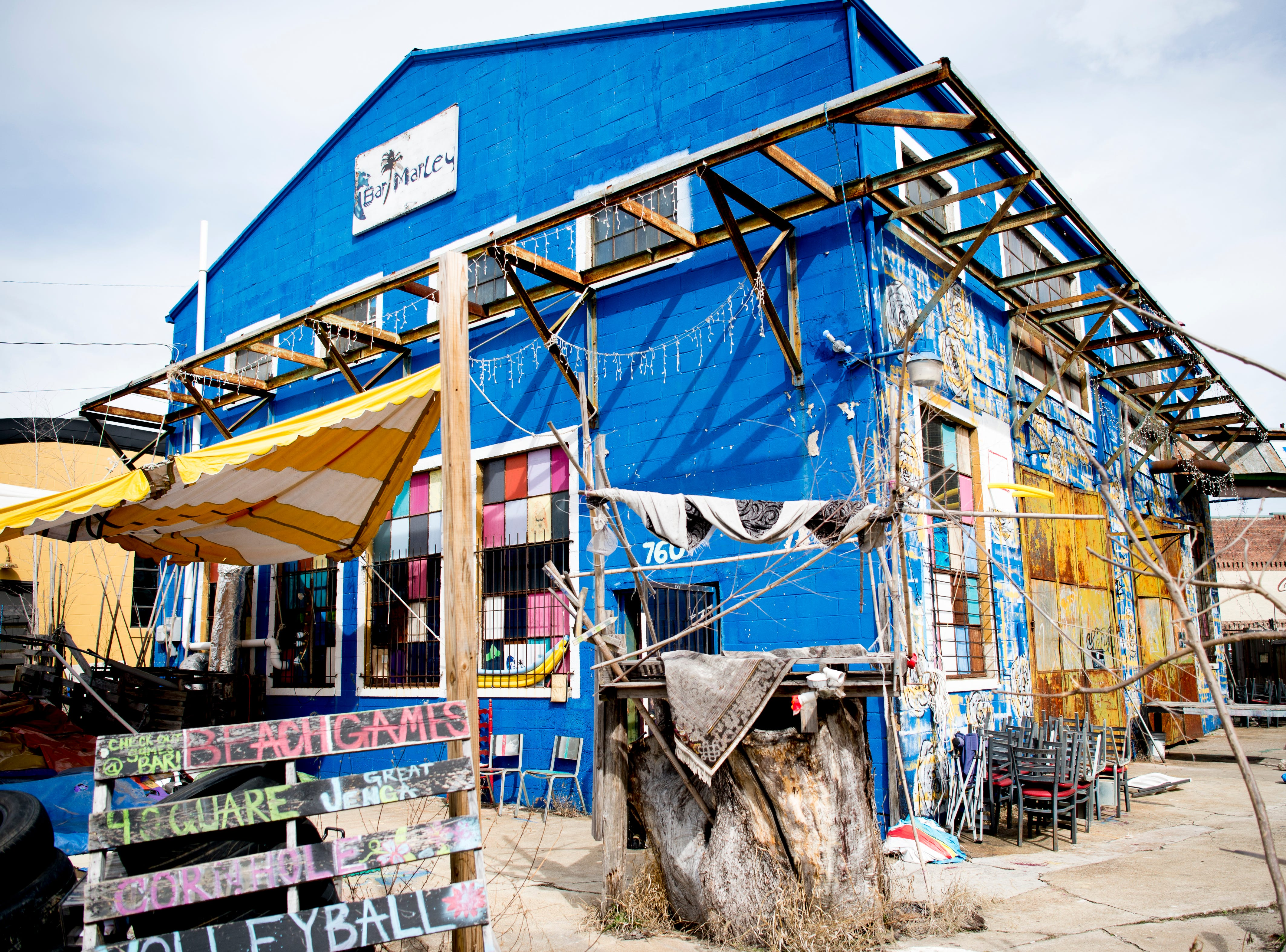 The exterior of Bar Marley in Knoxville, Tennessee on Thursday, February 14, 2019. The Caribbean-themed Bar Marley is facing possible acquisition and condemnation by KCDC due to code violations.