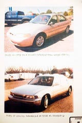 The car owned by Kermit Bryson's girlfriend, top, and the car owned by Adam Braseel's mother.