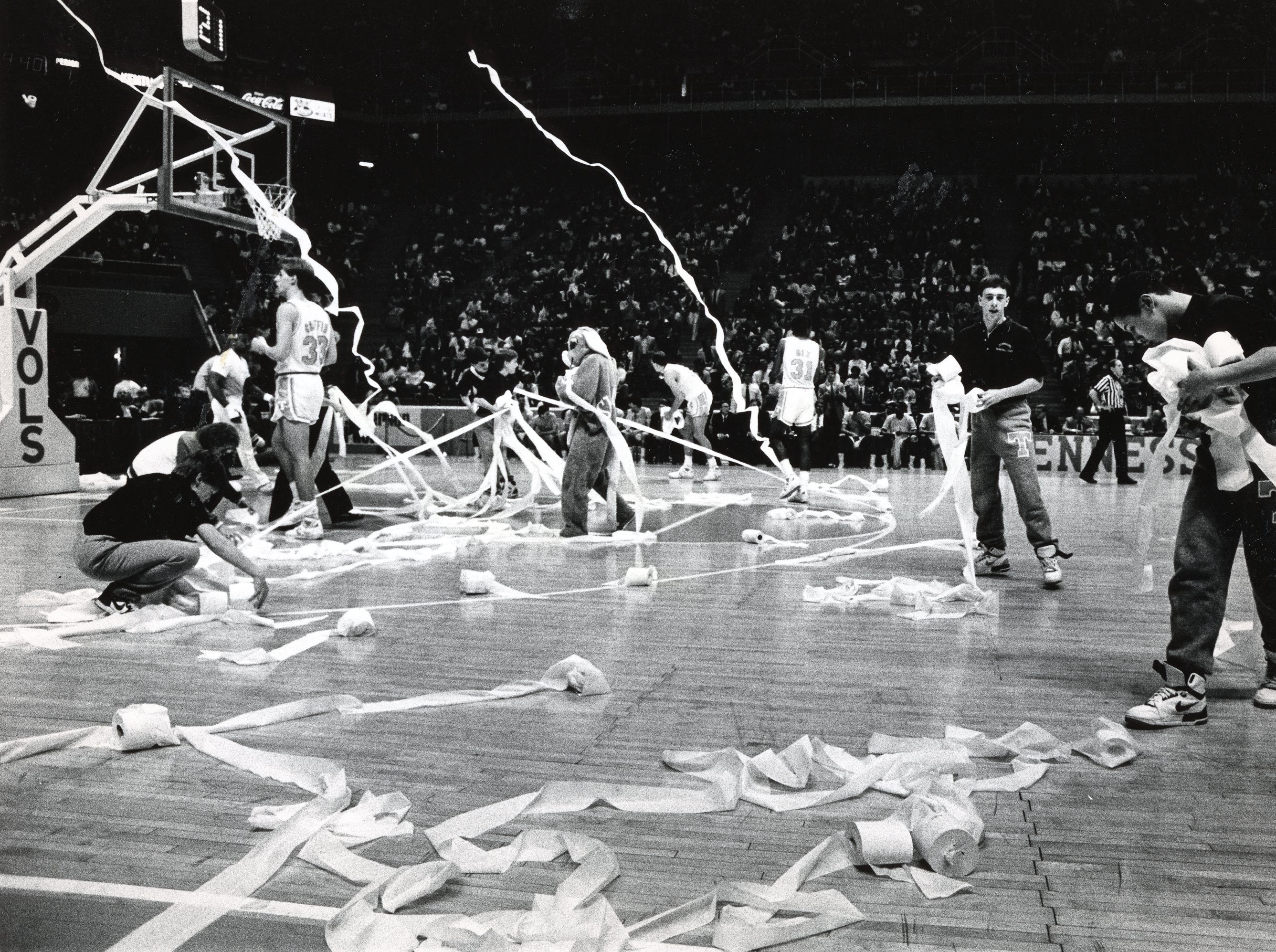 Toilet paper covers the court during the Tennessee vs. Kentucky game in February 1988.