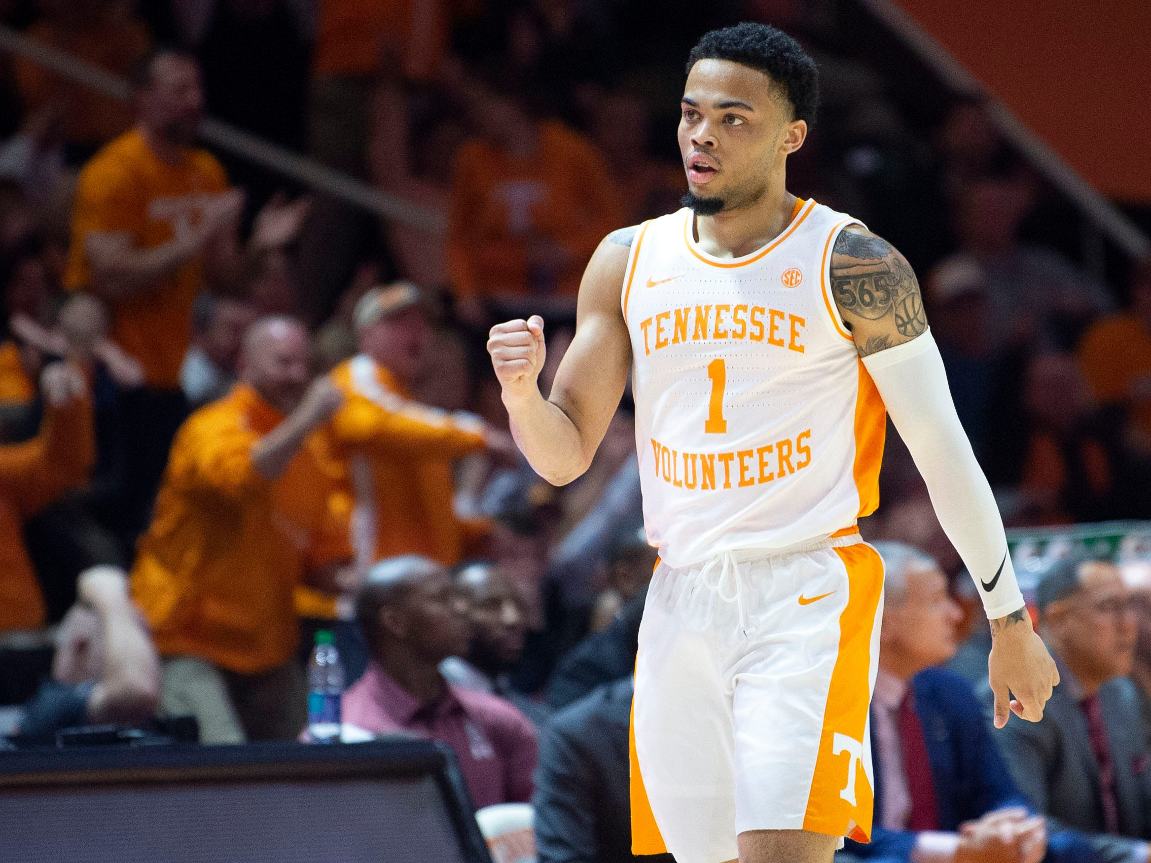 Tennessee's Lamonte Turner (1) celebrates a bit during the game against South Carolina on Wednesday, February 13, 2019.