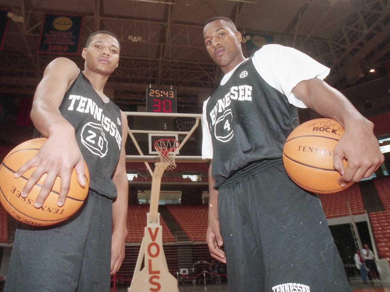 Shane Williams and Damon Johnson are freshman players for Tennessee. They played together in high school in Bristol. October 1994.