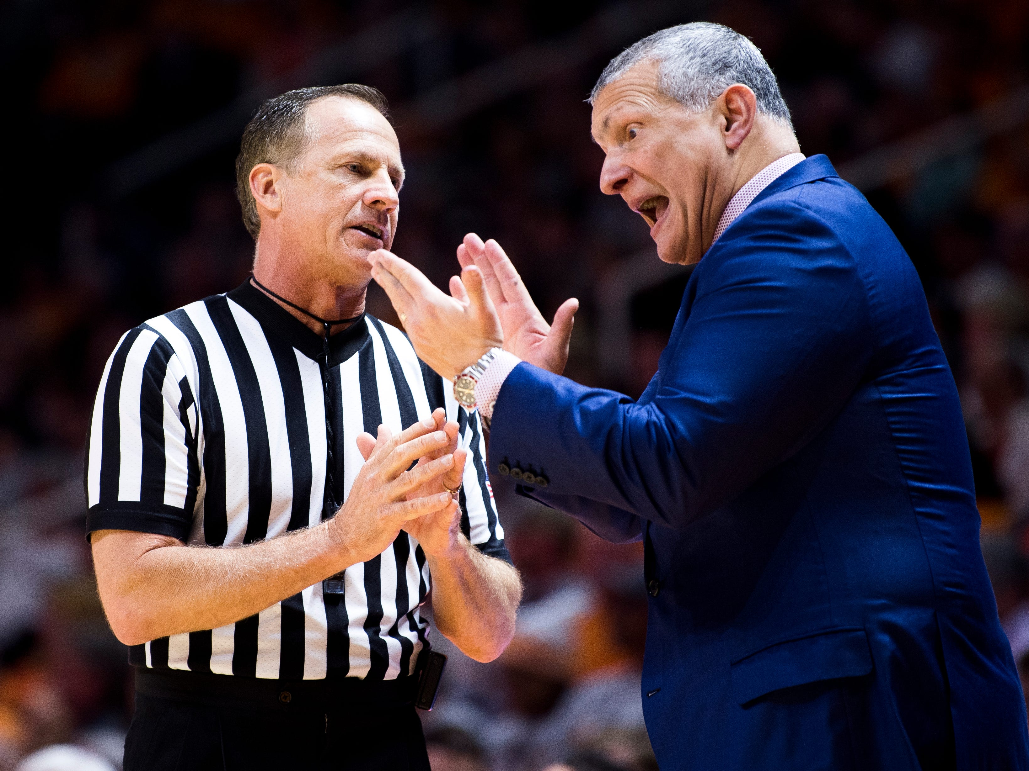 South Carolina Head Coach Frank Martin argues with an official during Tennessee's home SEC game against South Carolina at Thompson-Boling Arena in Knoxville on Wednesday, February 13, 2019.