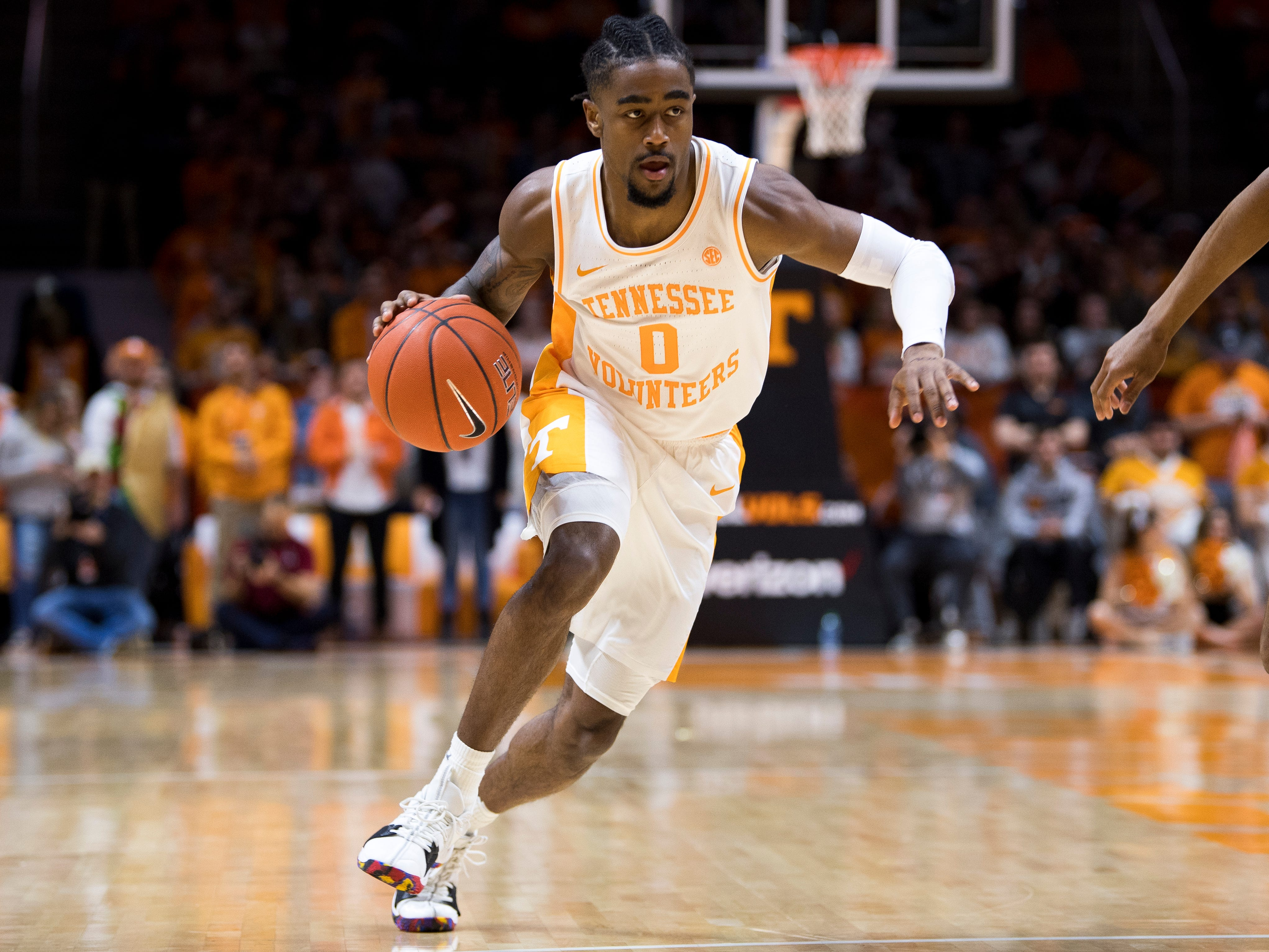 Tennessee guard Jordan Bone (0) drives down court during Tennessee's home SEC game against South Carolina at Thompson-Boling Arena in Knoxville on Wednesday, February 13, 2019.