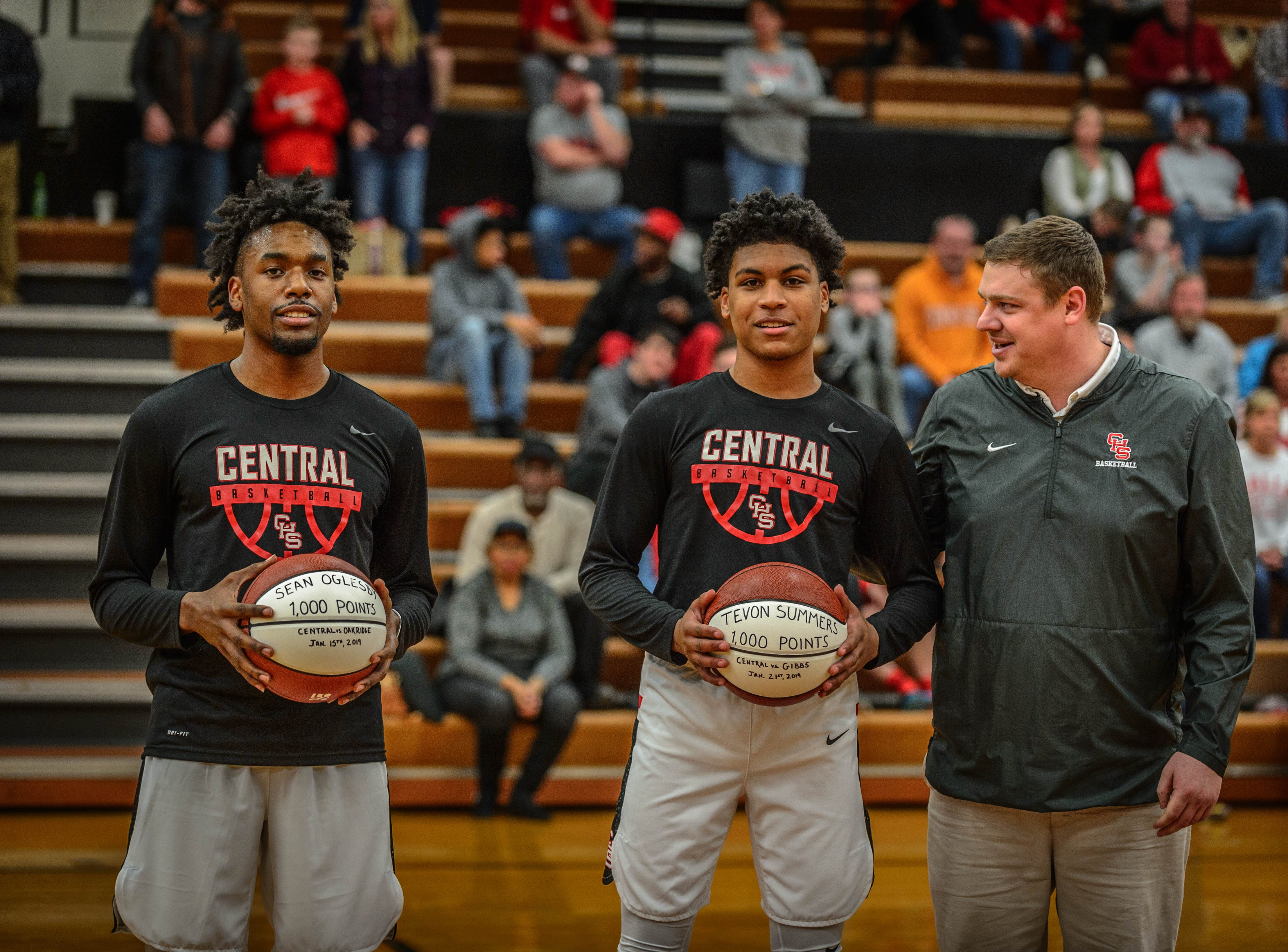 Sean Oglesby, left, had racked up 1,000 points by the Jan. 15 game vs. Oak Ridge, and Tevon Summers, right, had 1,000 points to his name by the Central vs. Gibbs game Jan. 21. Both players were recognized before the Feb. 1 game by their coach, Andy Hill.
