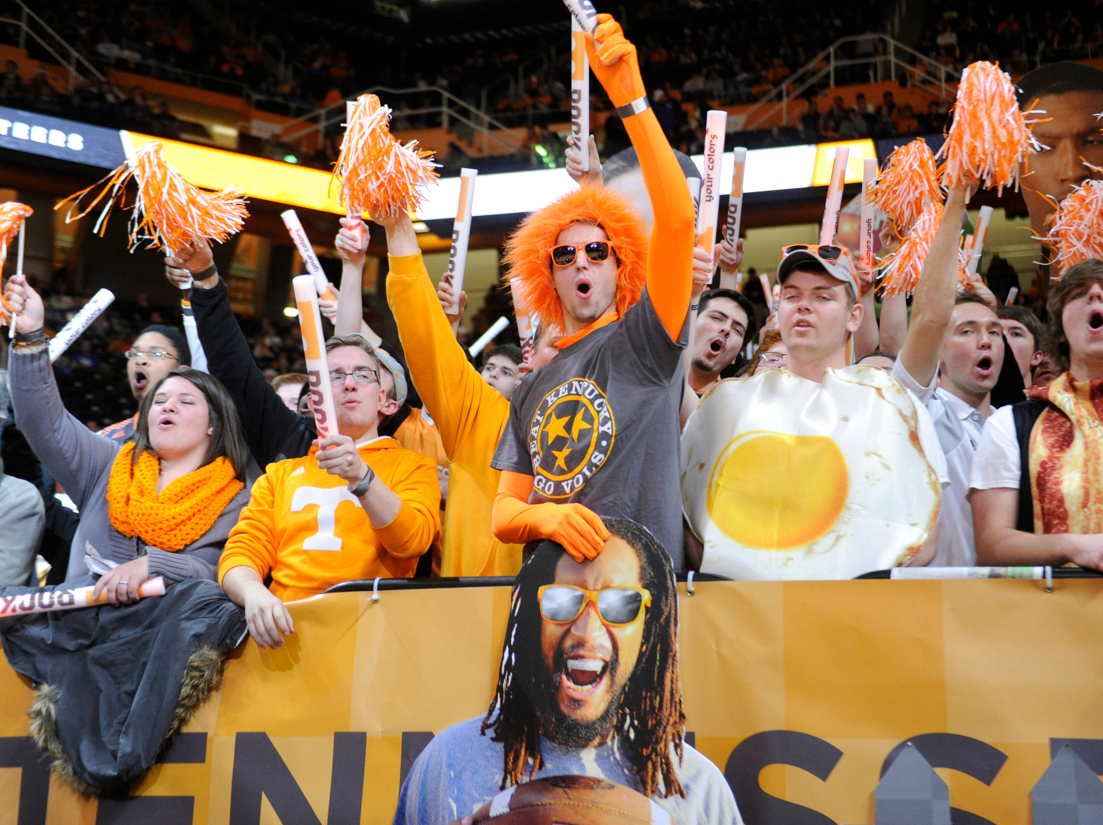 Tennessee fans cheer before a basketball game against Kentucky at Thompson-Boling Arena in Knoxville on Tuesday, Feb. 17, 2015.