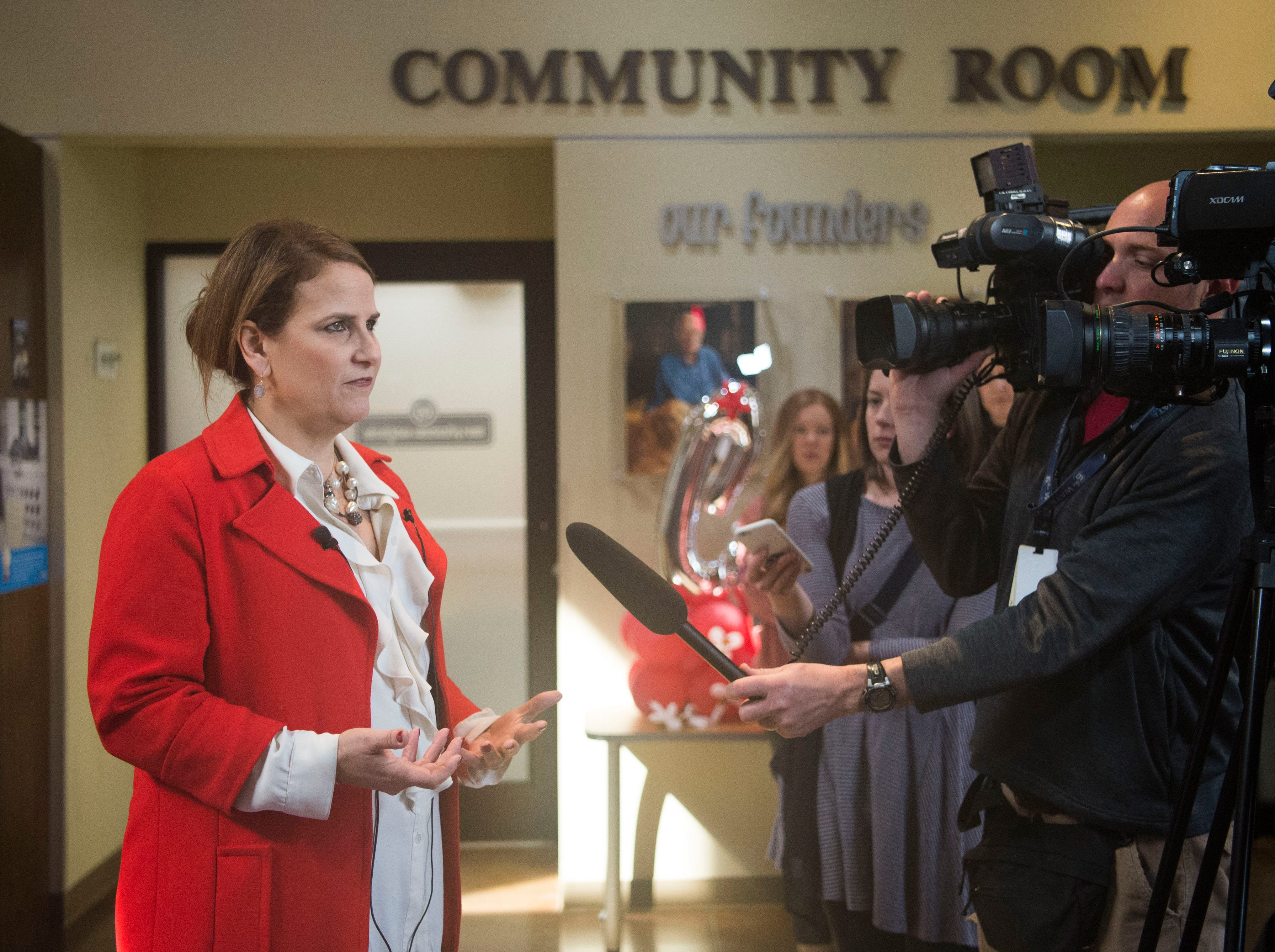 Young-Williams Animal Center CEO Janet Testerman speaks to the media at Young-Williams Animal Center in Knoxville Thursday, Feb. 14, 2019. The animal shelter received a surprise $750,000 grant from the Petco Foundation.Ê