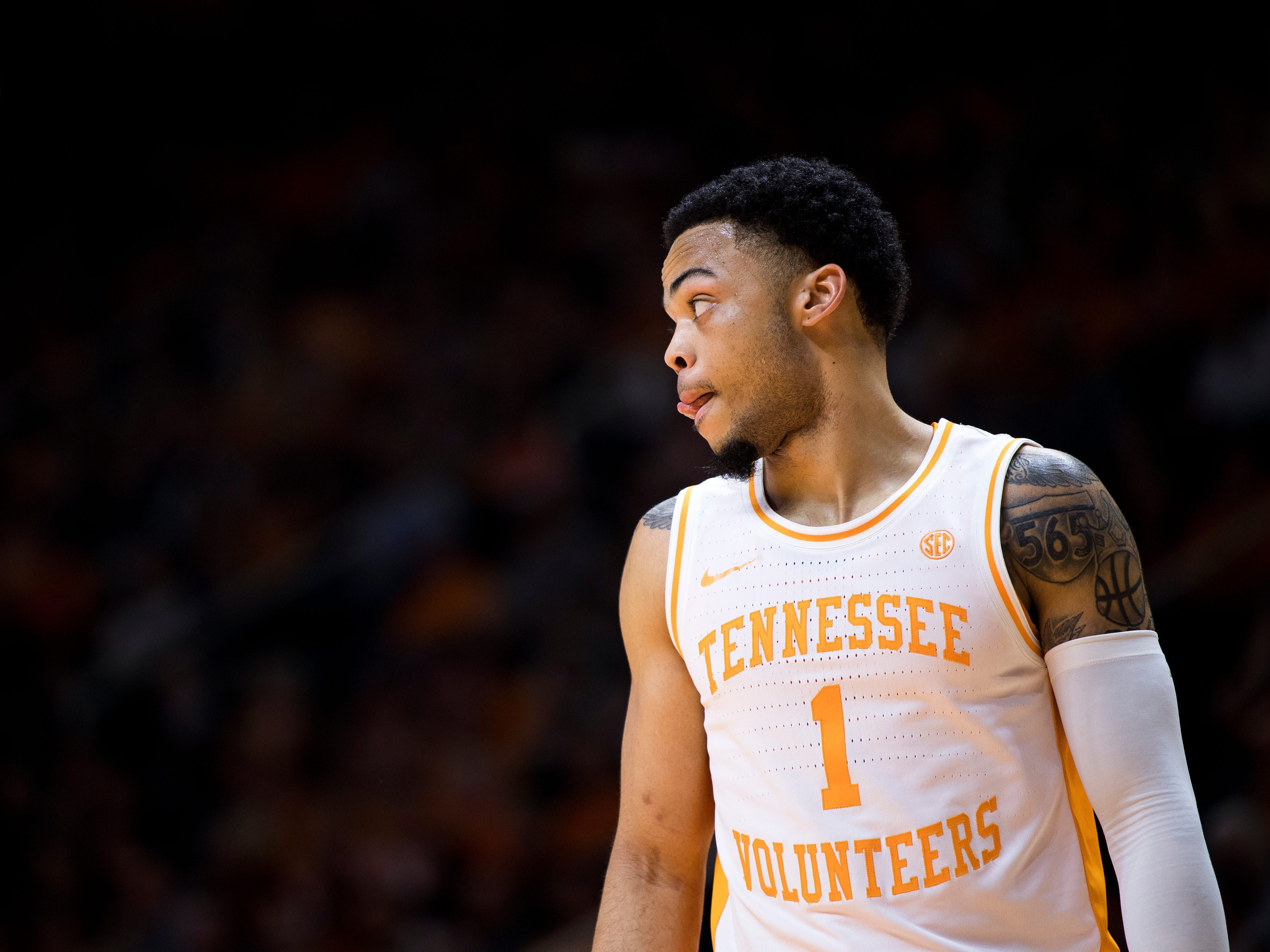 Tennessee guard Lamonte Turner (1) during Tennessee's home SEC game against South Carolina at Thompson-Boling Arena in Knoxville on Wednesday, February 13, 2019.