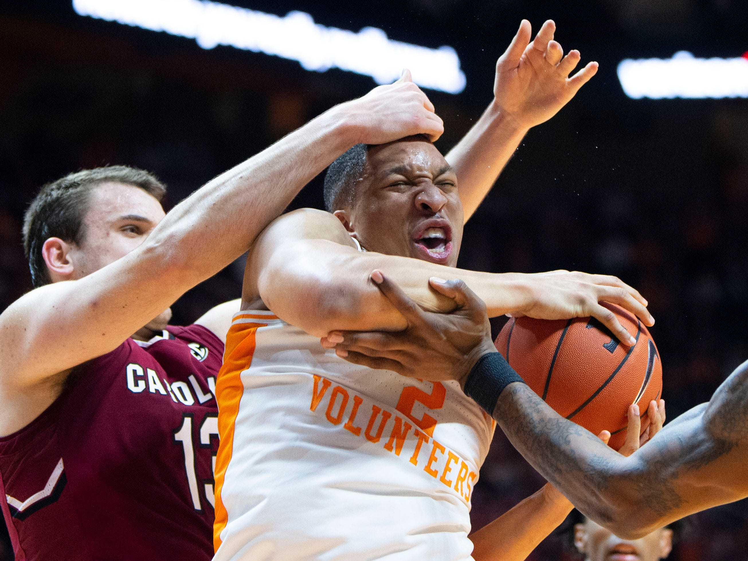 Tennessee's Grant Williams (2) battles and gets the rebound against South Carolina on Wednesday, February 13, 2019.