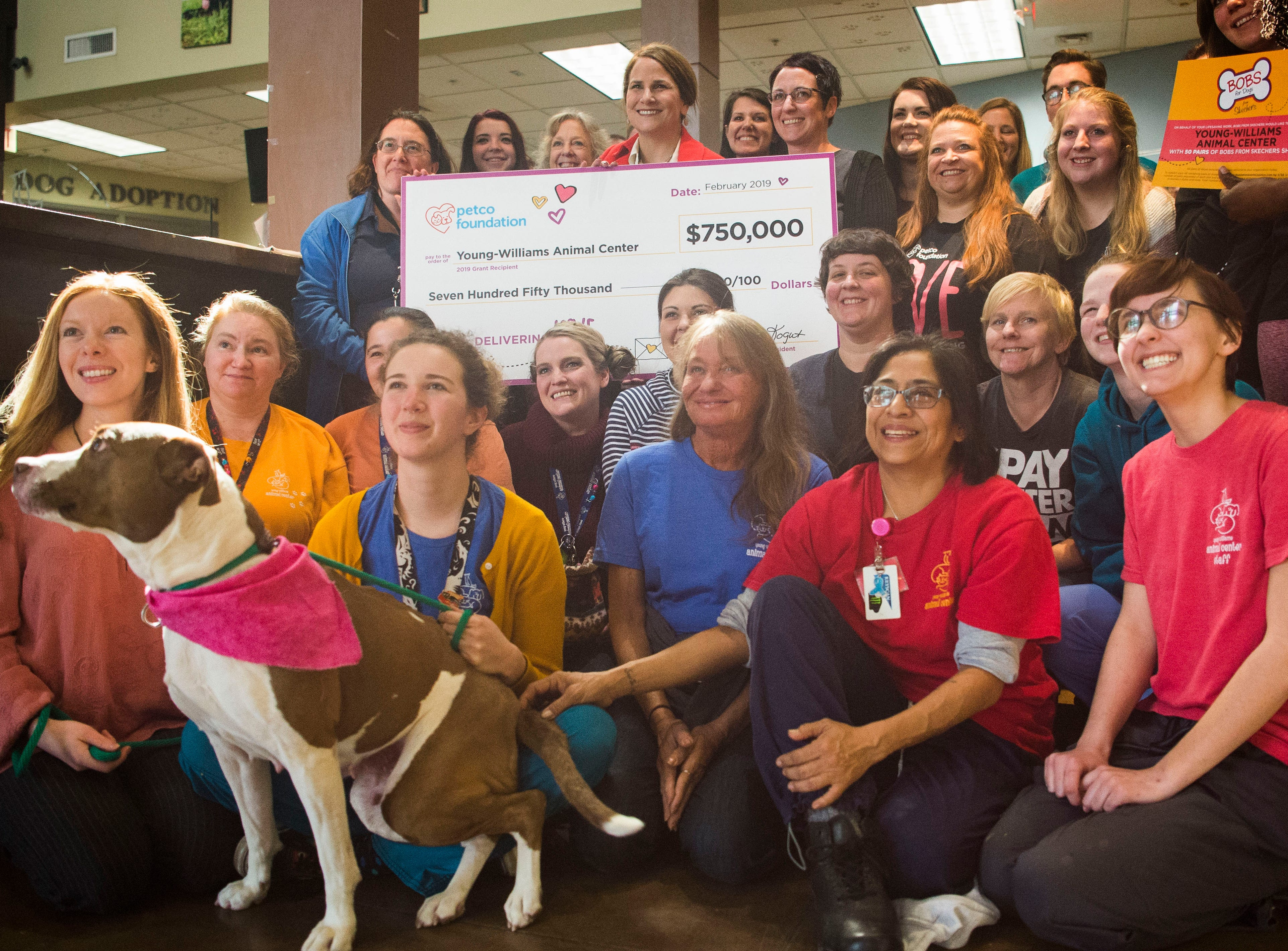 Young-Williams Animal Center employees gather around CEO Janet Testerman after being presented a $750,000 grant from the Petco Foundation, in Knoxville Thursday, Feb. 14, 2019.