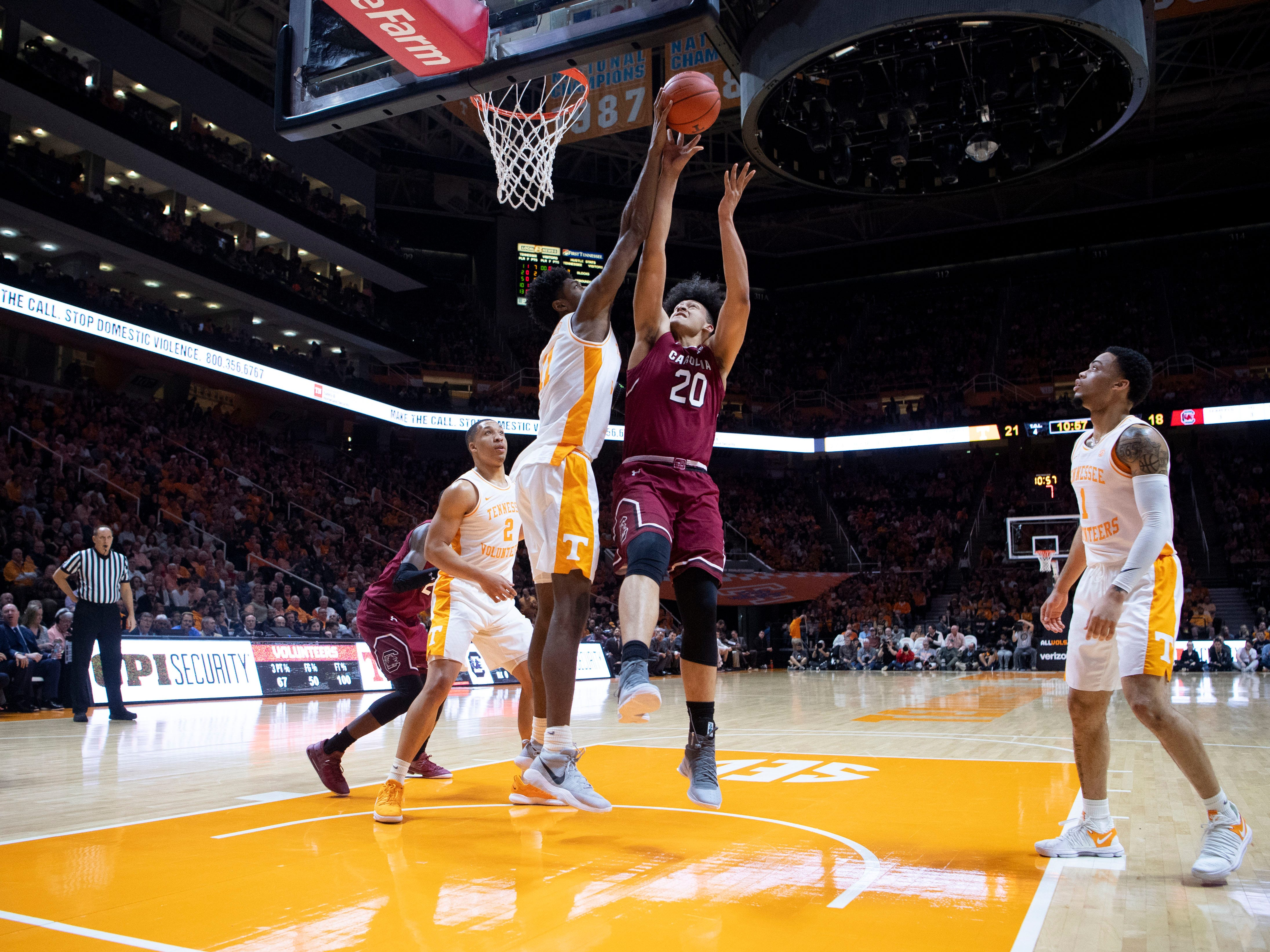 Tennessee's Kyle Alexander (11) blocks a shot attempt by South Carolina Alanzo Frink (20) on Wednesday, February 13, 2019.