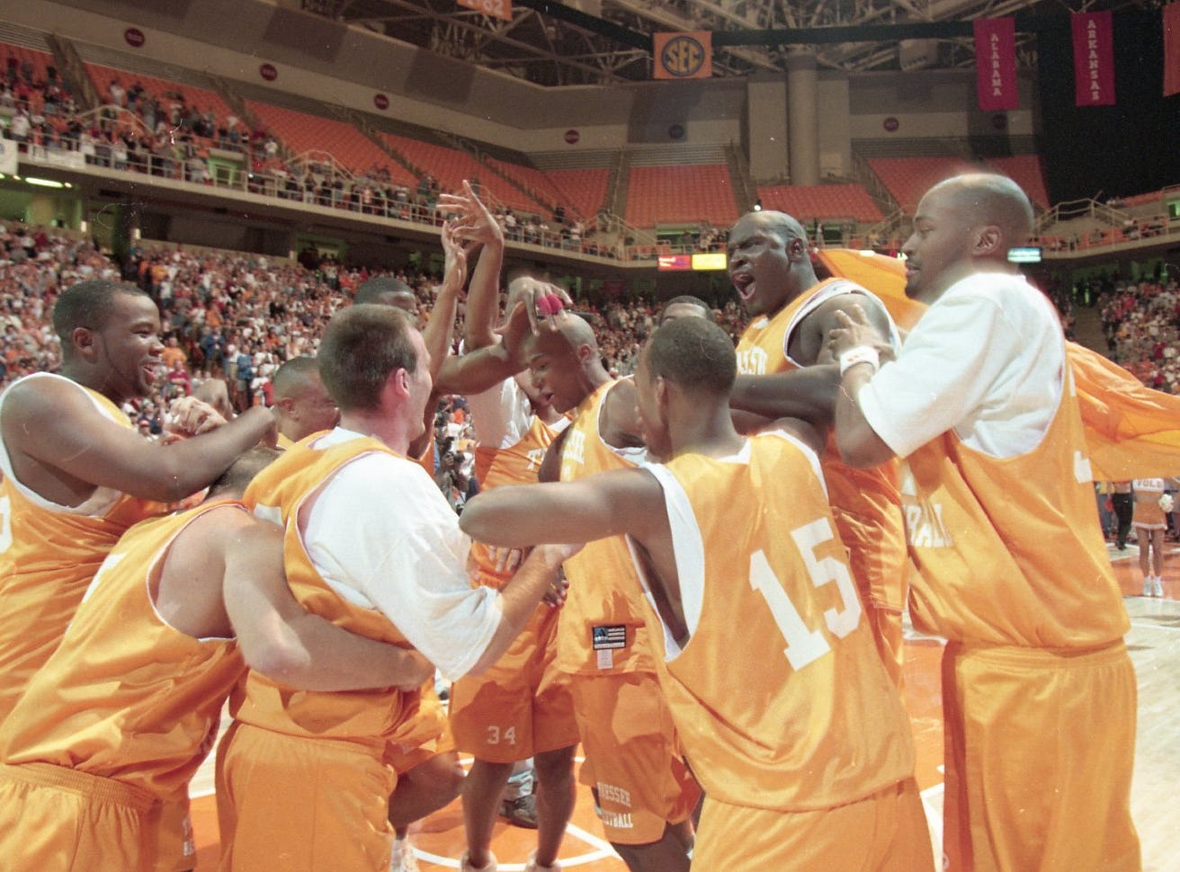 The spirited crowd at Midnight Madness inspired the 1998-1999 Tennessee men's basketball team as they got fired up for the evening events in October 1998.