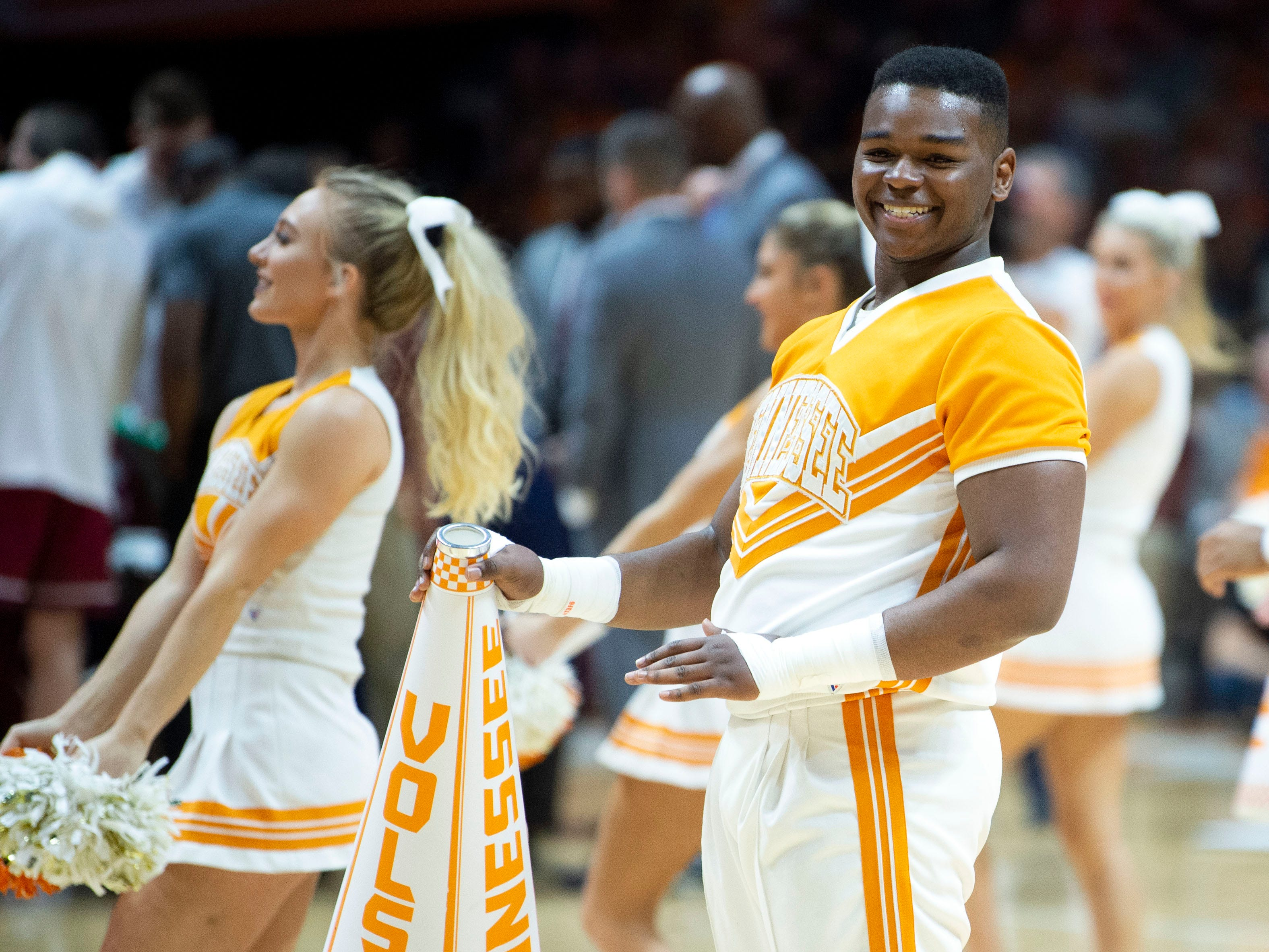 Tennessee cheerleaders entertain the sold-out crowd during the game against South Carolina on Wednesday, February 13, 2019.