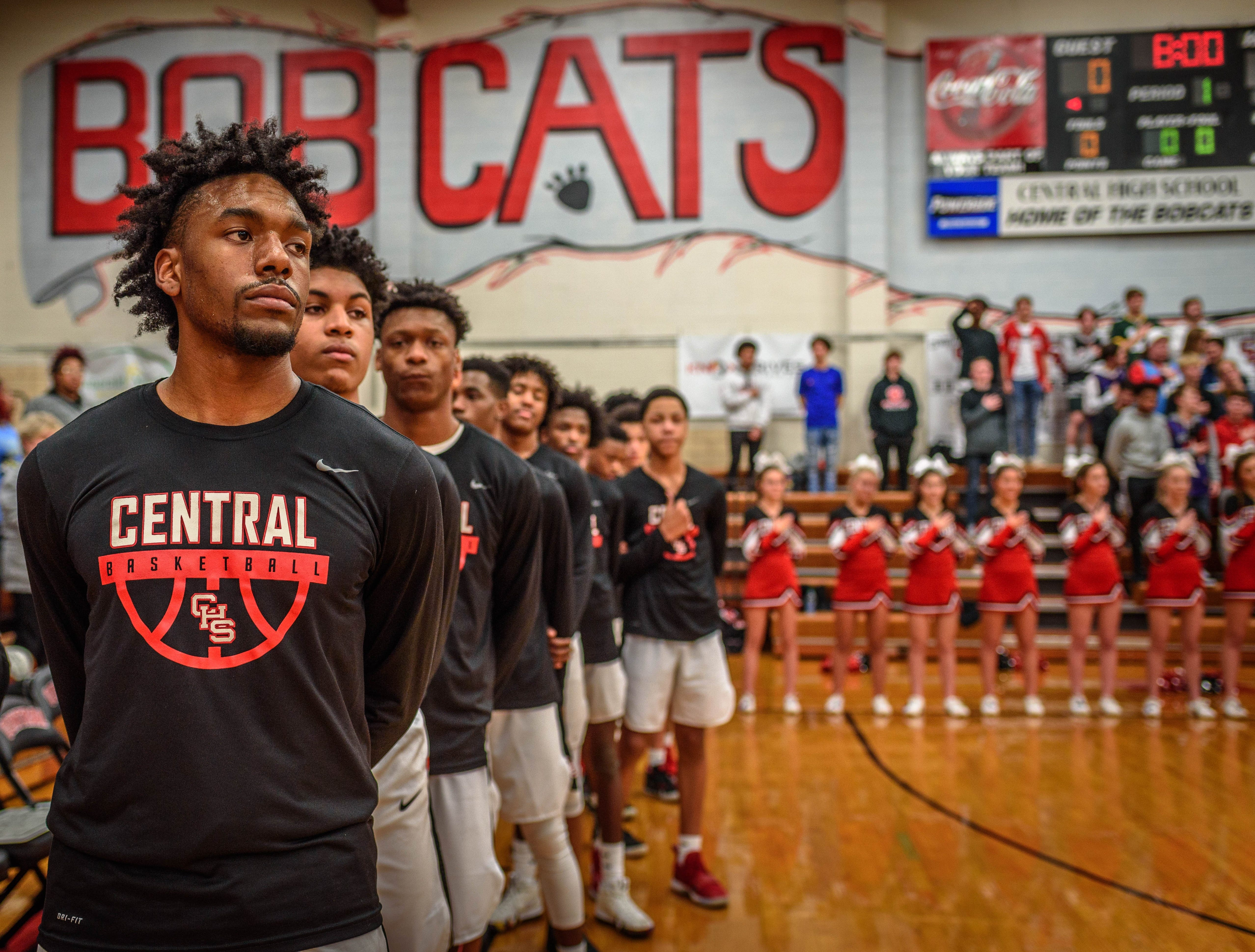 The national anthem plays before a Central High home game on Feb. 1.