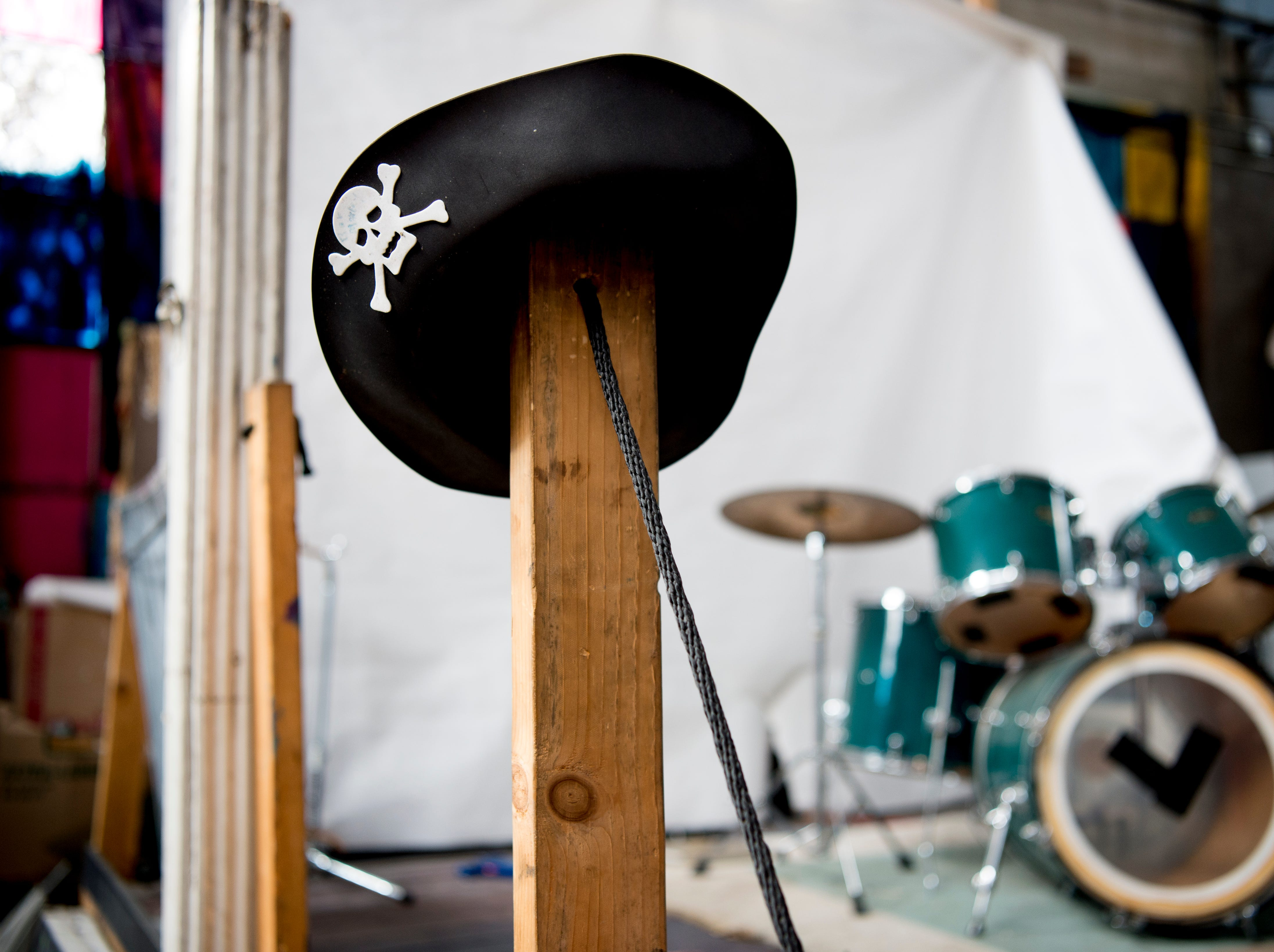 A pirate hat hangs beside the stage at Bar Marley in Knoxville, Tennessee on Thursday, February 14, 2019. The Caribbean-themed Bar Marley is facing possible acquisition and condemnation by KCDC due to code violations.
