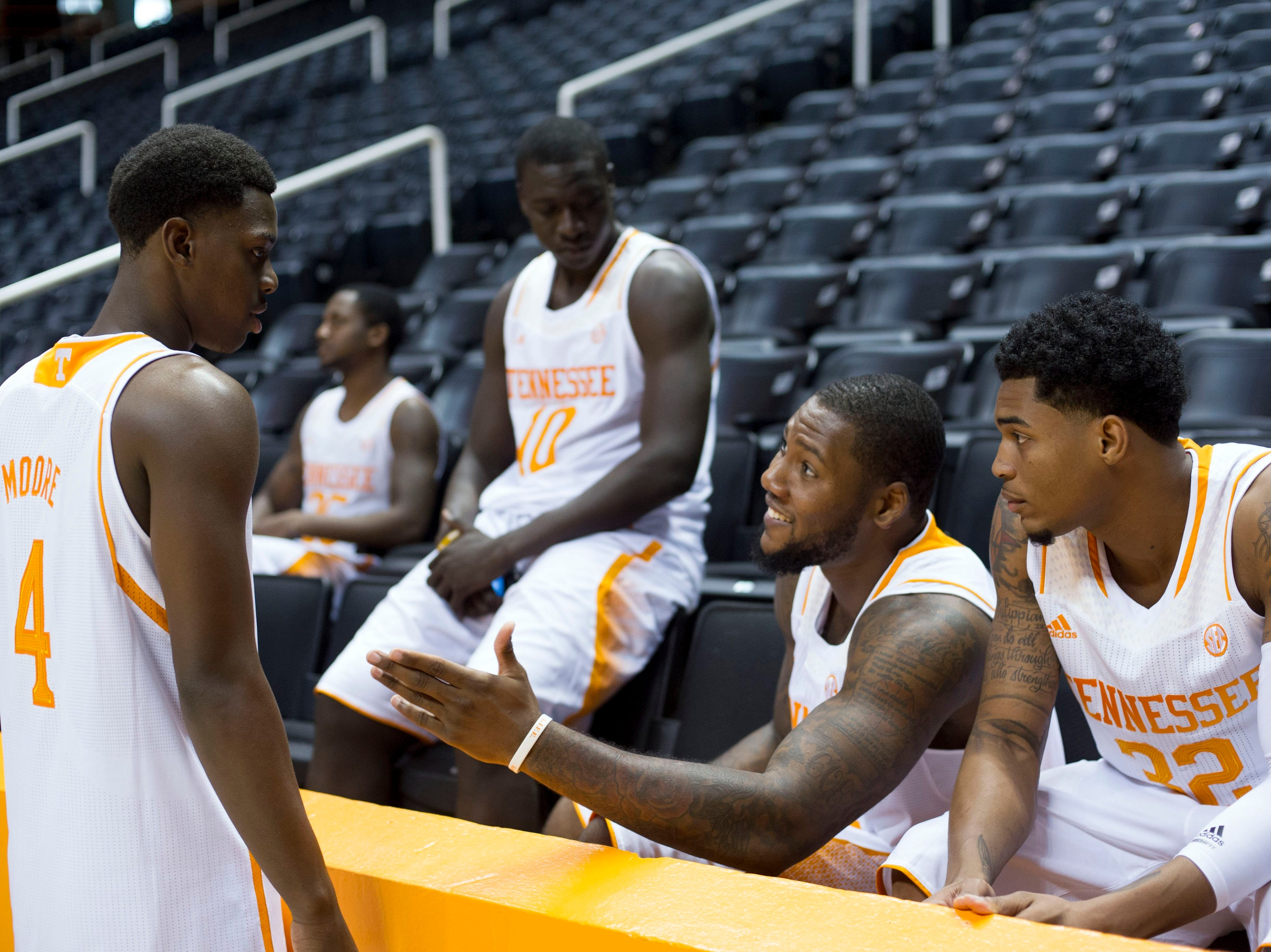 """Tennessee players, from left, Armani Moore, Rawane """"Pops"""" Ndiave, Jeronne Maymon, and D'Montre Edwards at Tennessee Basketball Media Day on Monday, October 7, 2013."""