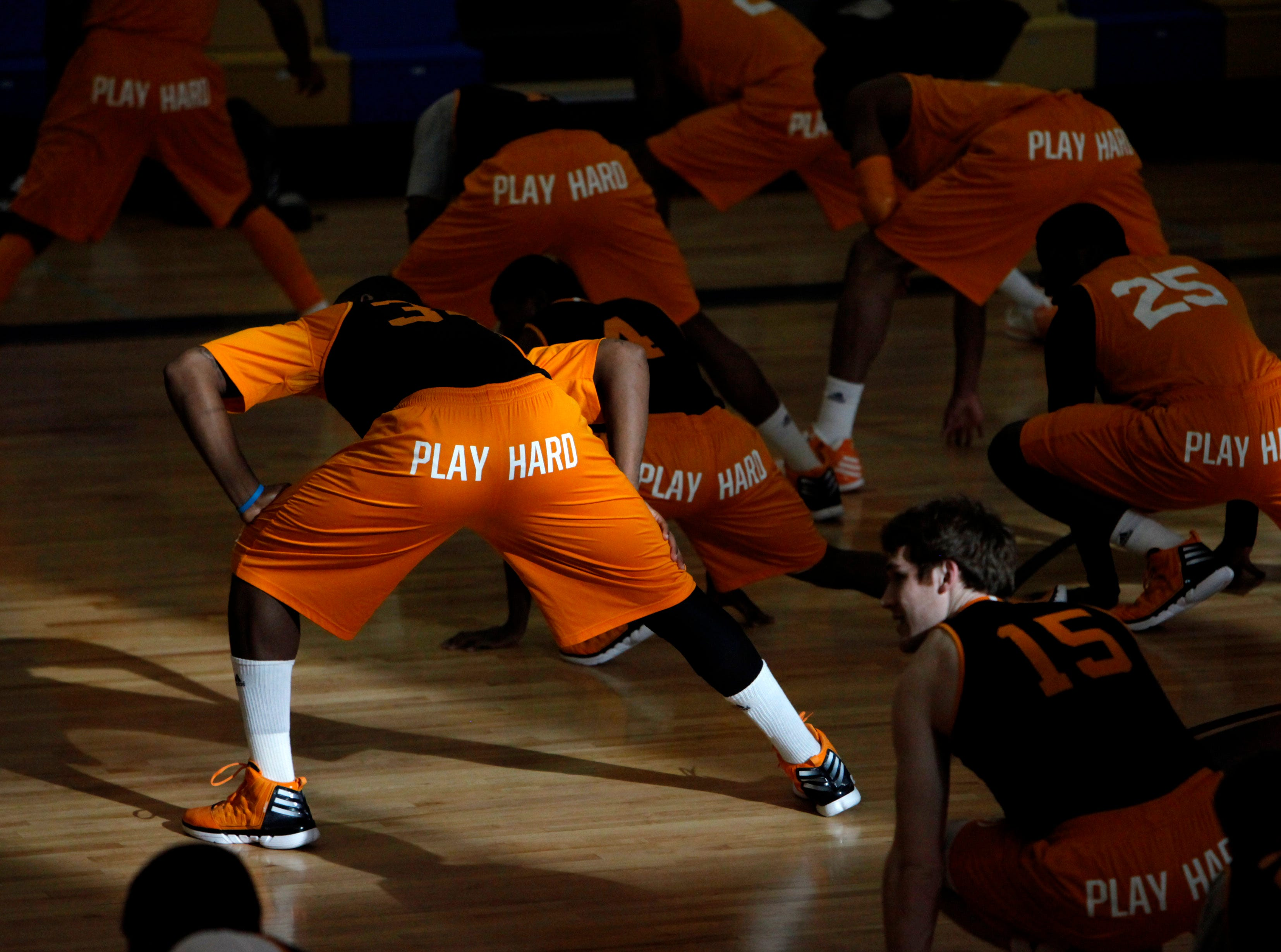 The Tennessee Volunteers men's basketball team stretches prior to practice at Holy Cross School in New Orleans, La., Thursday, March 8, 2012. Tennessee will take on the winner of the Ole Miss and Auburn game on Friday.