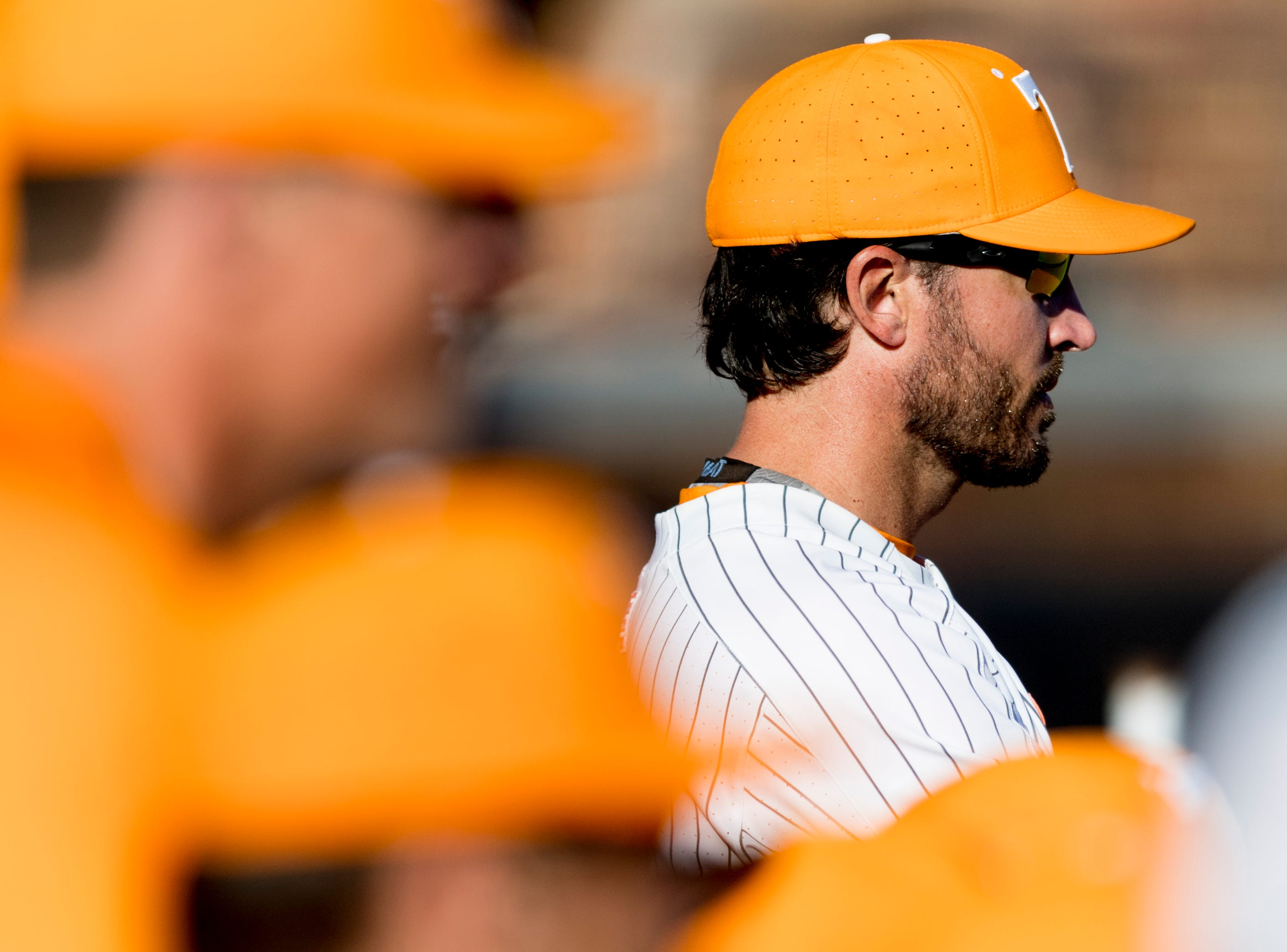 Tennessee Head Coach Tony Vitello watches the game during a game between Tennessee and ETSU at Lindsey Nelson Stadium in Knoxville, Tennessee on Friday, March 2, 2018.