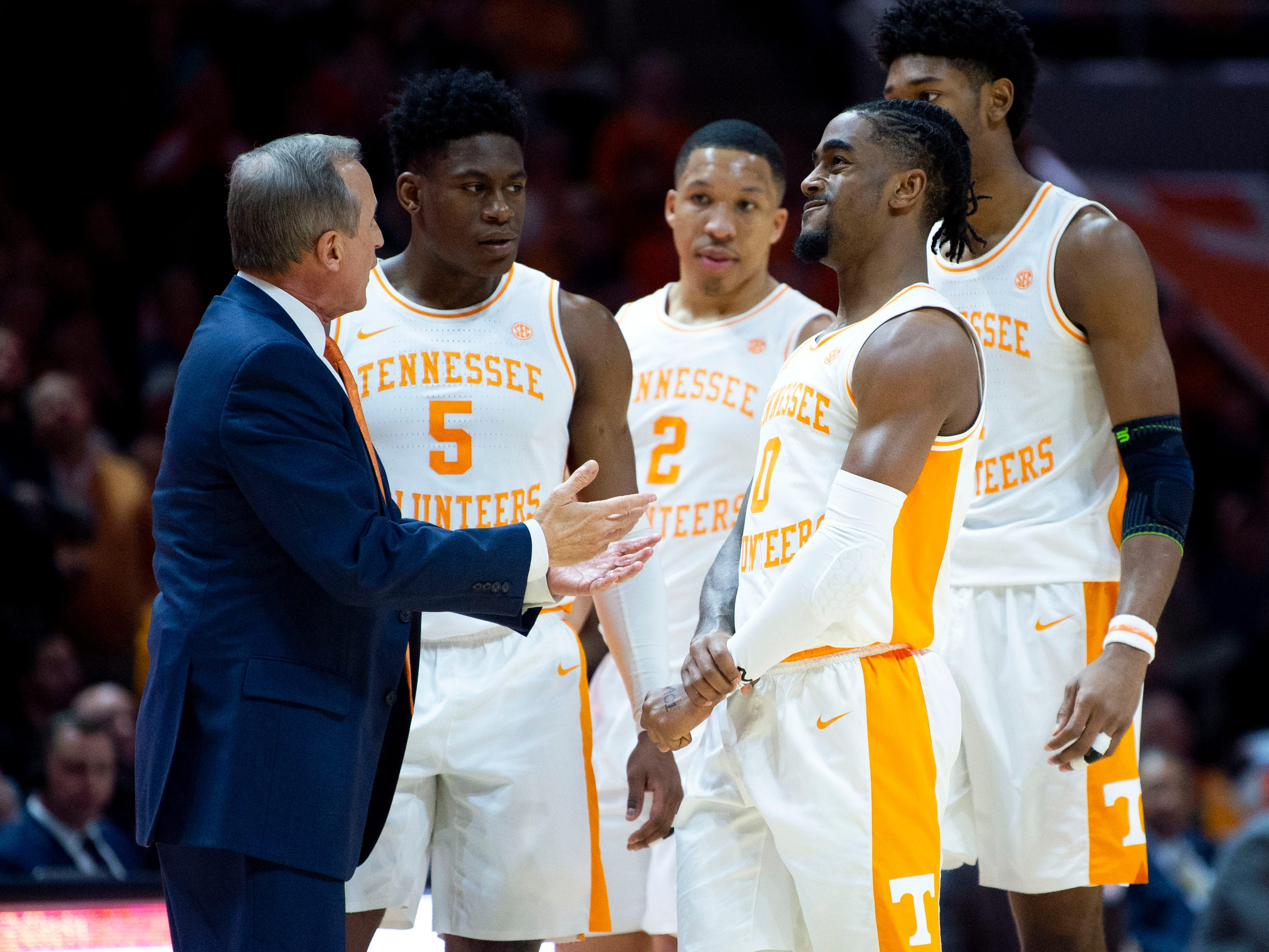 Tennessee head coach Rick Barnes talks with his players during a break in the game against South Carolina on Wednesday, February 13, 2019.