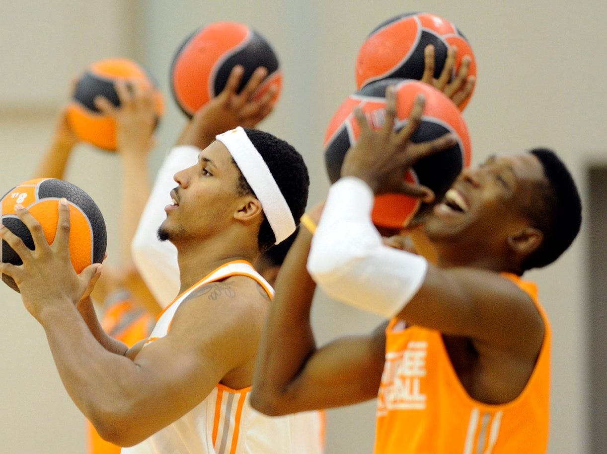 Jarnell Stokes and Josh Richardson run drills during the men's basketball team's practice at University of Tennessee's Pratt Pavillion in Knoxville on Wednesday, Oct. 2, 2013.