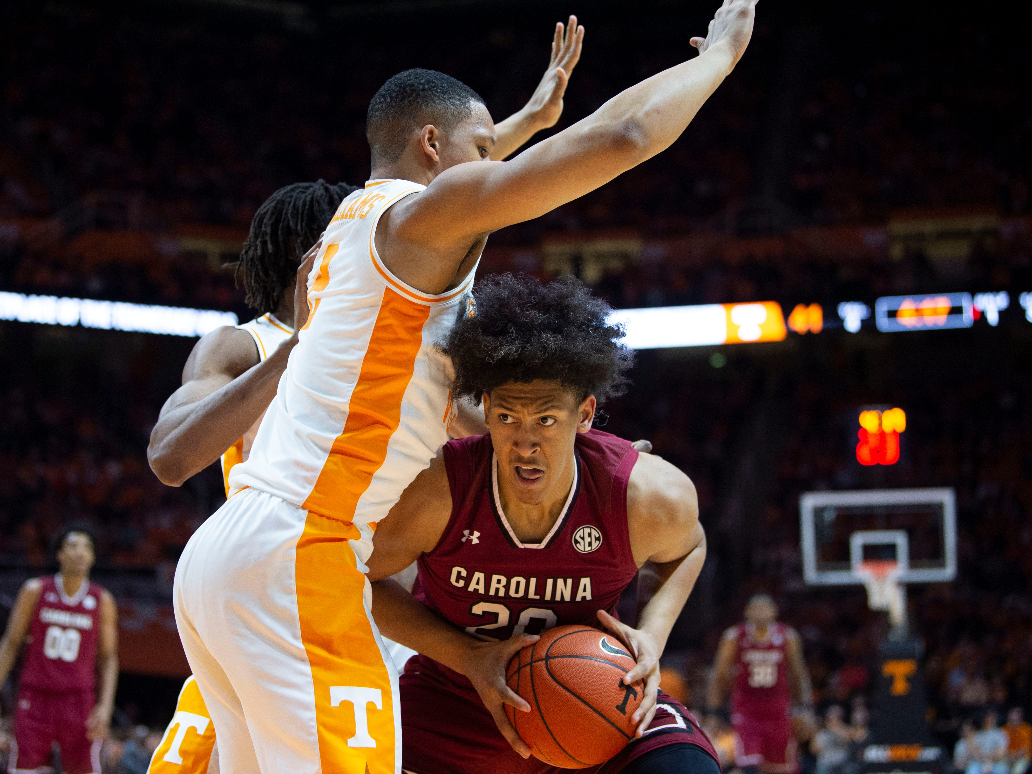 Tennessee's Grant Williams (2) guards South Carolina forward Alanzo Frink (20) on Wednesday, February 13, 2019.