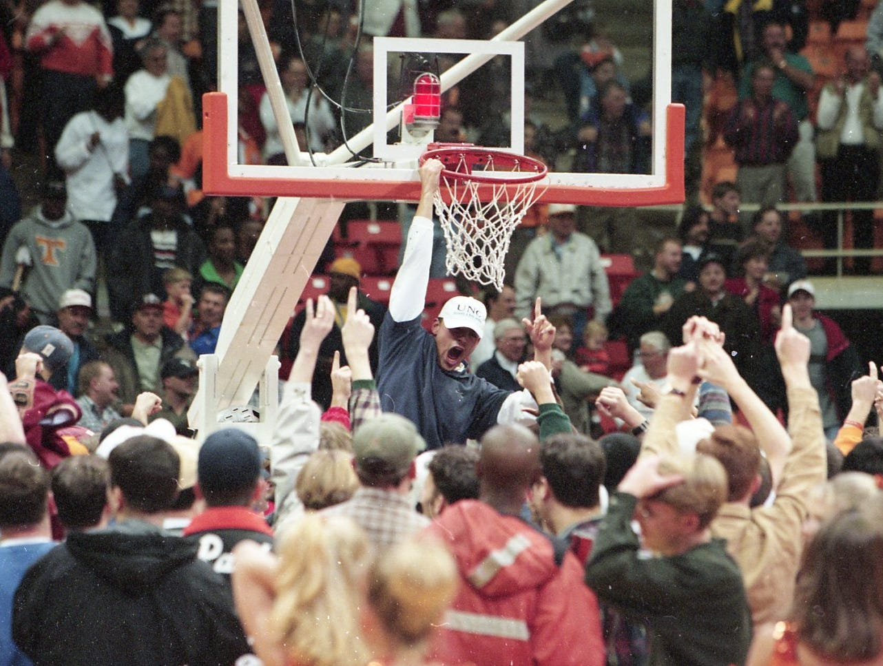 Tennessee students storm the floor to celebrate the Vols win over Miami of Ohio on a last second shot by Charles Hathaway in November 1997.