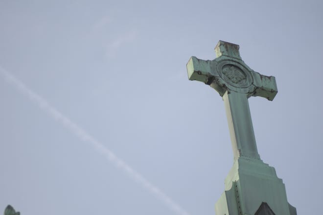 The steeple of Trinity United Methodist Church in Lafayette