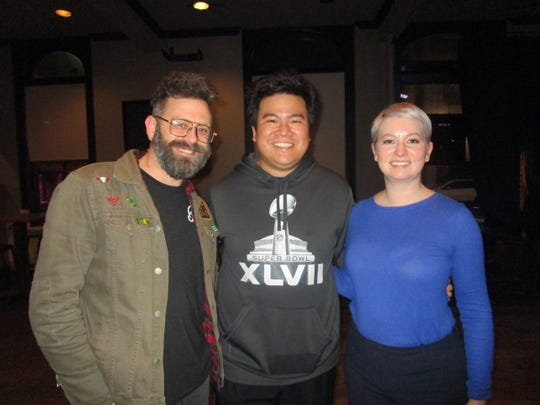 Krewe de Canaille founders Rodney Hess and Paul Kieu with krewe president Paige Beyt