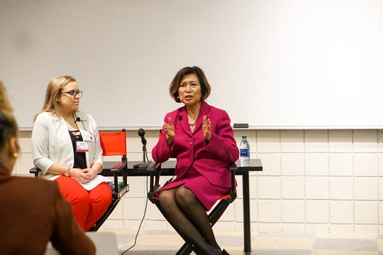 Loida Lewis (right) speaks Thursday at University of Louisiana at Lafayette to share success stories of her late husband Reginald Lewis, the first African-American to create a billion-dollar company. She is interviewed by Student Government Association President Chandler Harris.