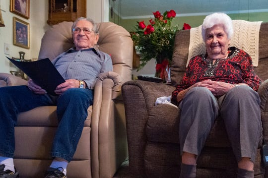 Wallace and Gladys Menard celebrate 80 years of marriage. Wednesday, Feb. 13, 2019.