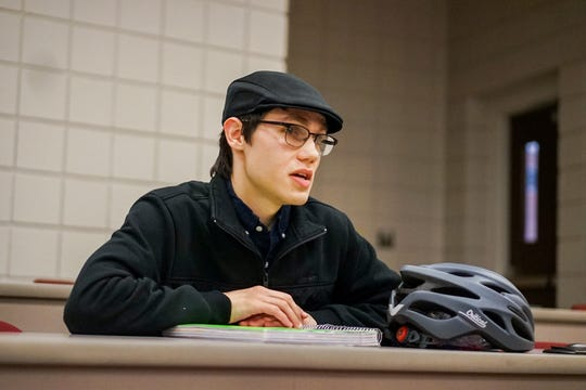 Austin DeHart, a senior business management major at the University of Louisiana at Lafayette, asked guest speaker Loida Lewis for tips as he puts together a business plan of his own. Lewis is the widow of Reginald Lewis, the first African-American to create a billion-dollar company, and currently chairs his company and foundation.