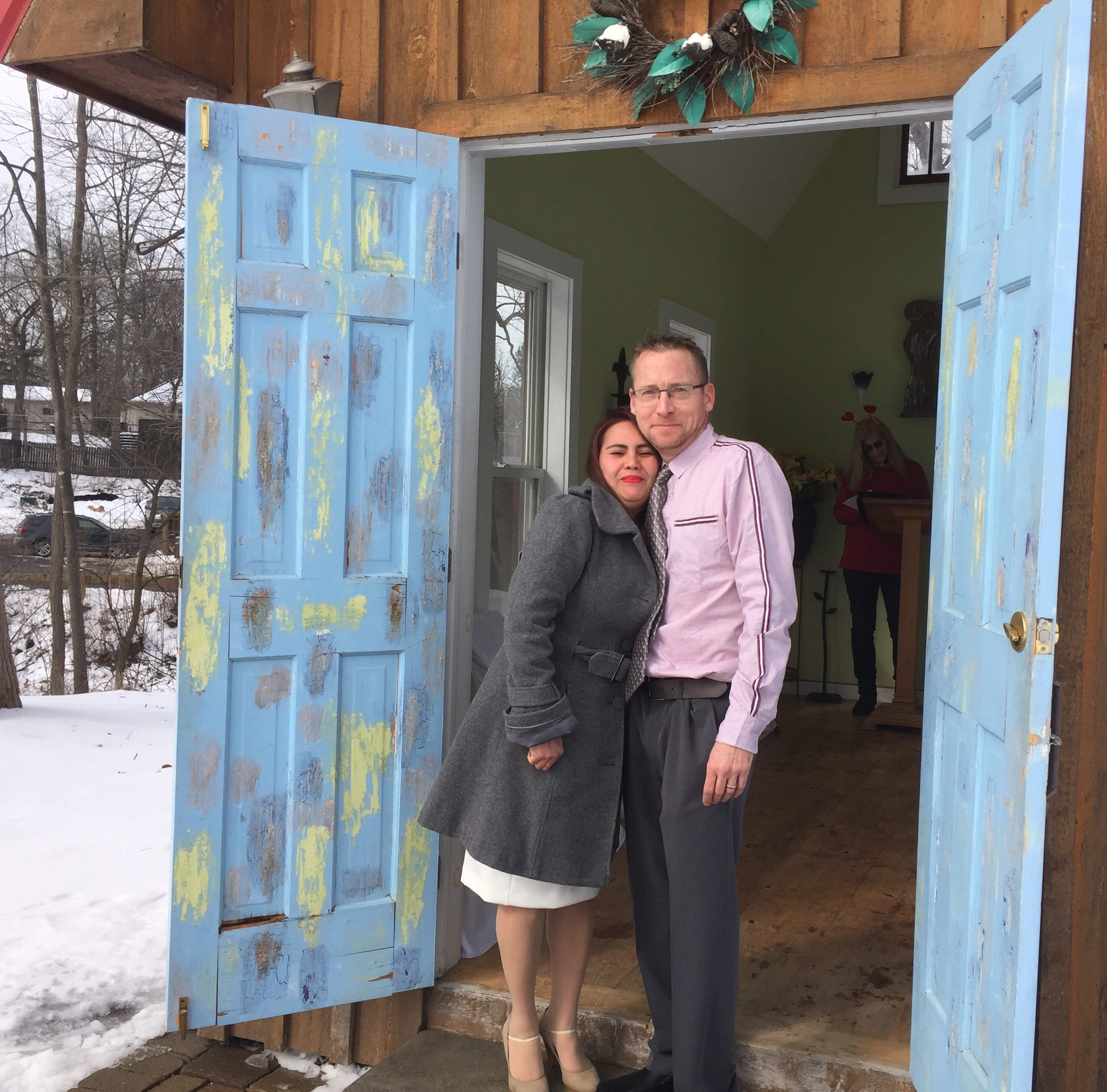 A frozen Hell didn't stop this couple from tying the knot on Valentine's Day